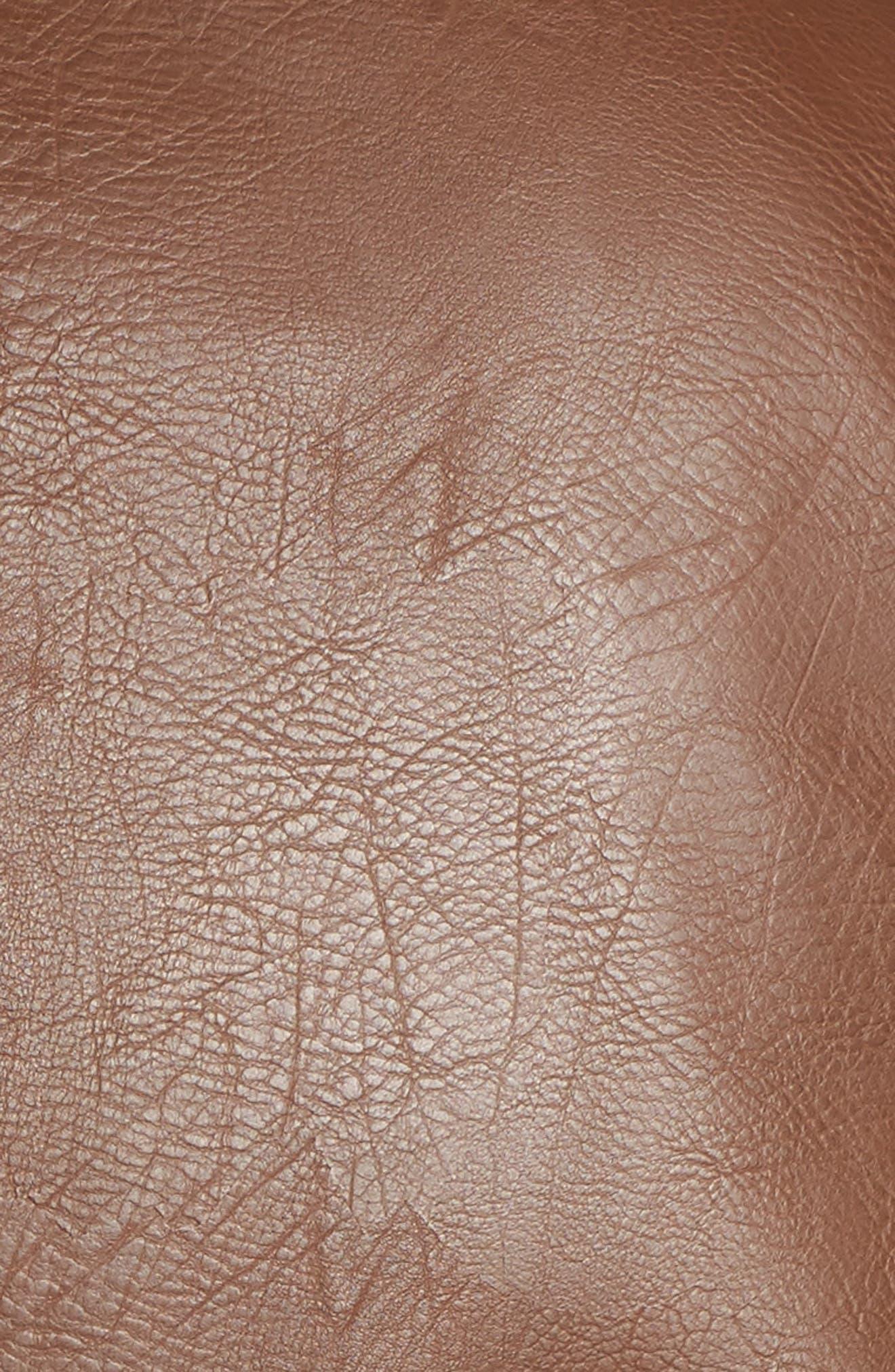 Faux Leather Jacket,                             Alternate thumbnail 6, color,                             Cognac