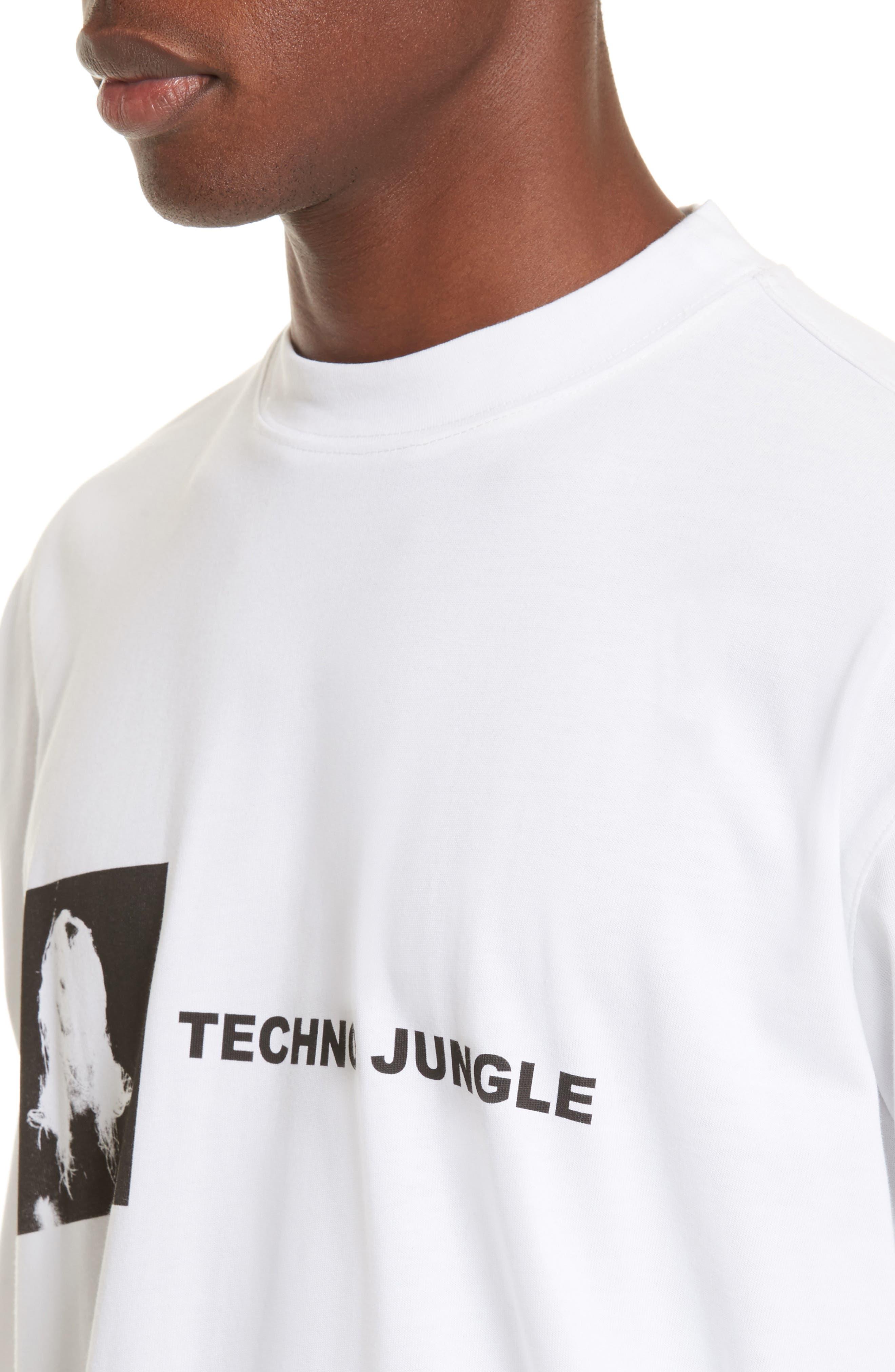 Techno Jungle Graphic T-Shirt,                             Alternate thumbnail 4, color,                             White