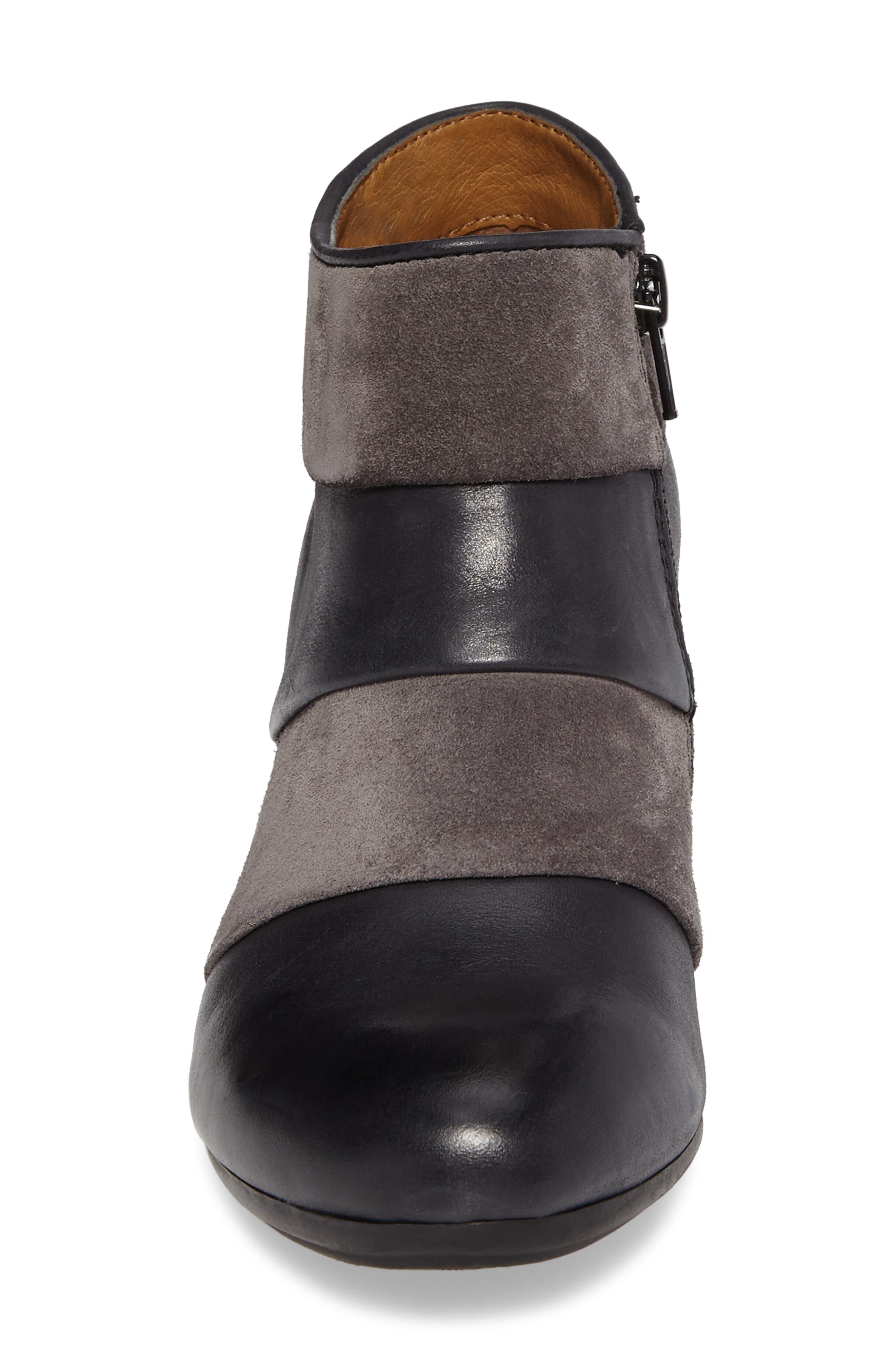 Amesbury Colorblock Bootie,                             Alternate thumbnail 4, color,                             Black/ Steel Grey Leather