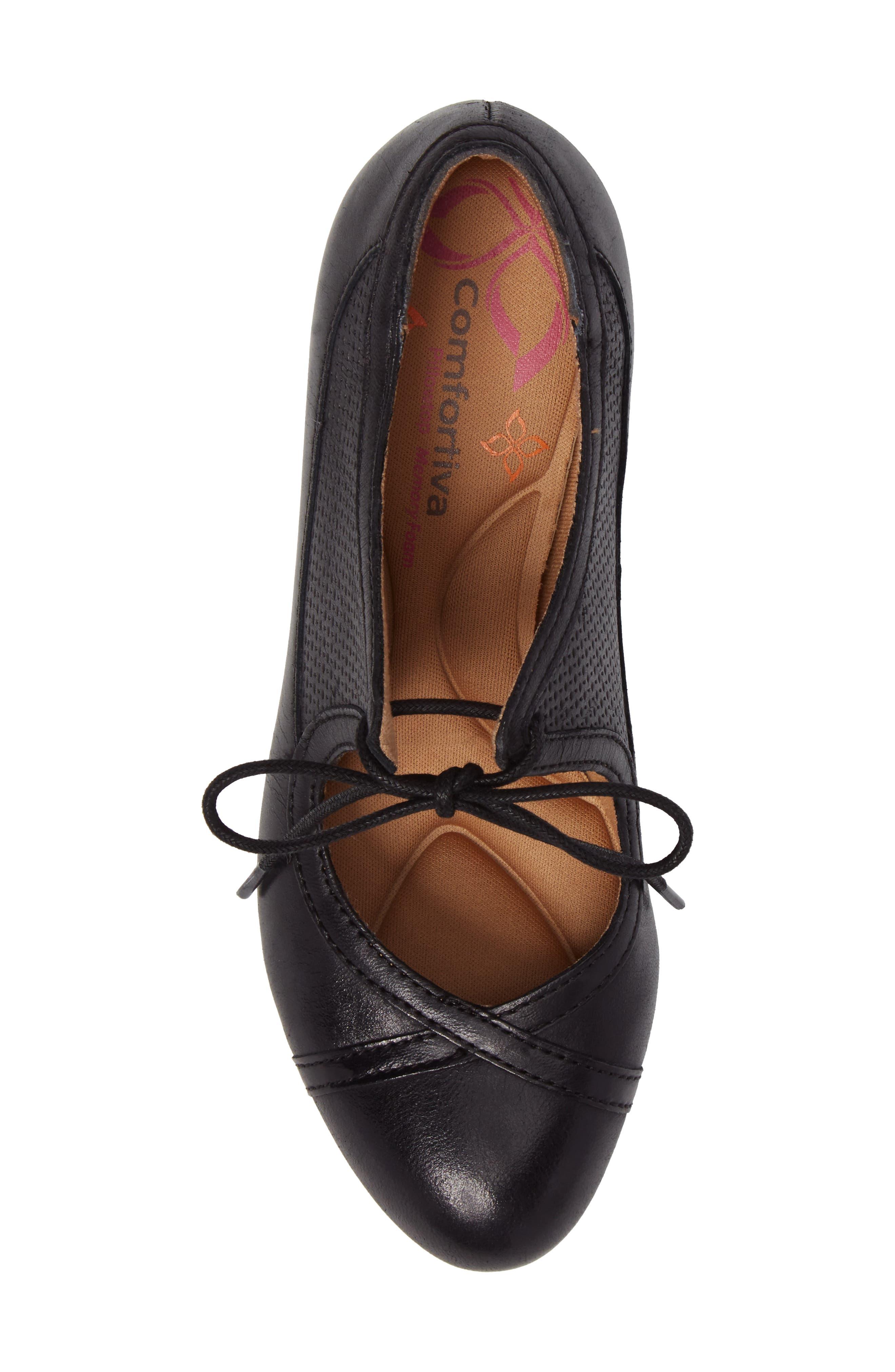 Almyra Pump,                             Alternate thumbnail 5, color,                             Black Leather