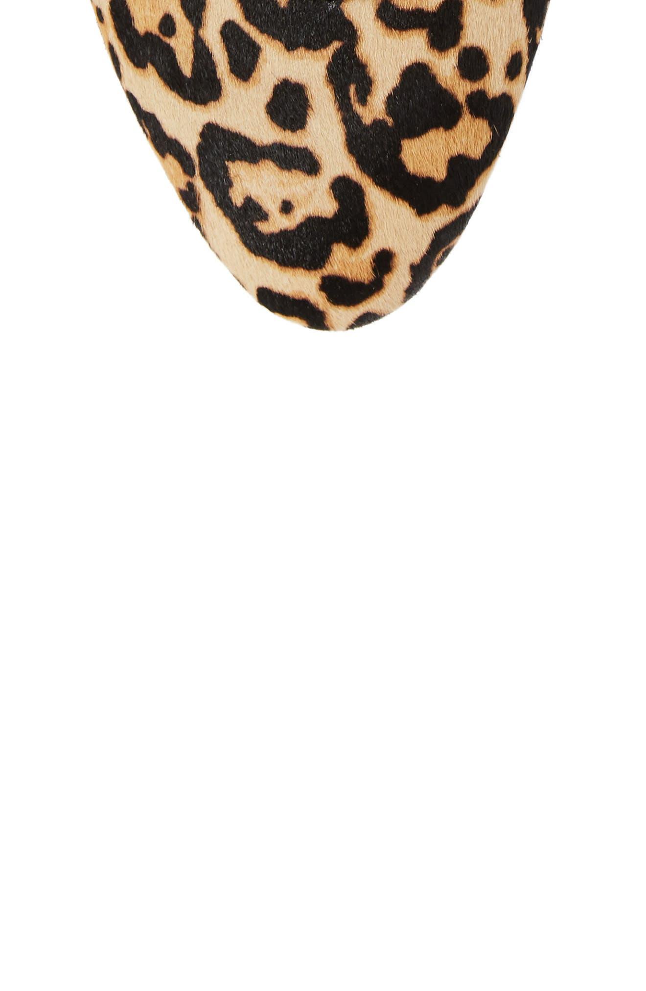 Renee II Genuine Calf Hair Ankle Tie Flat,                             Alternate thumbnail 5, color,                             Leopard Calf Hair