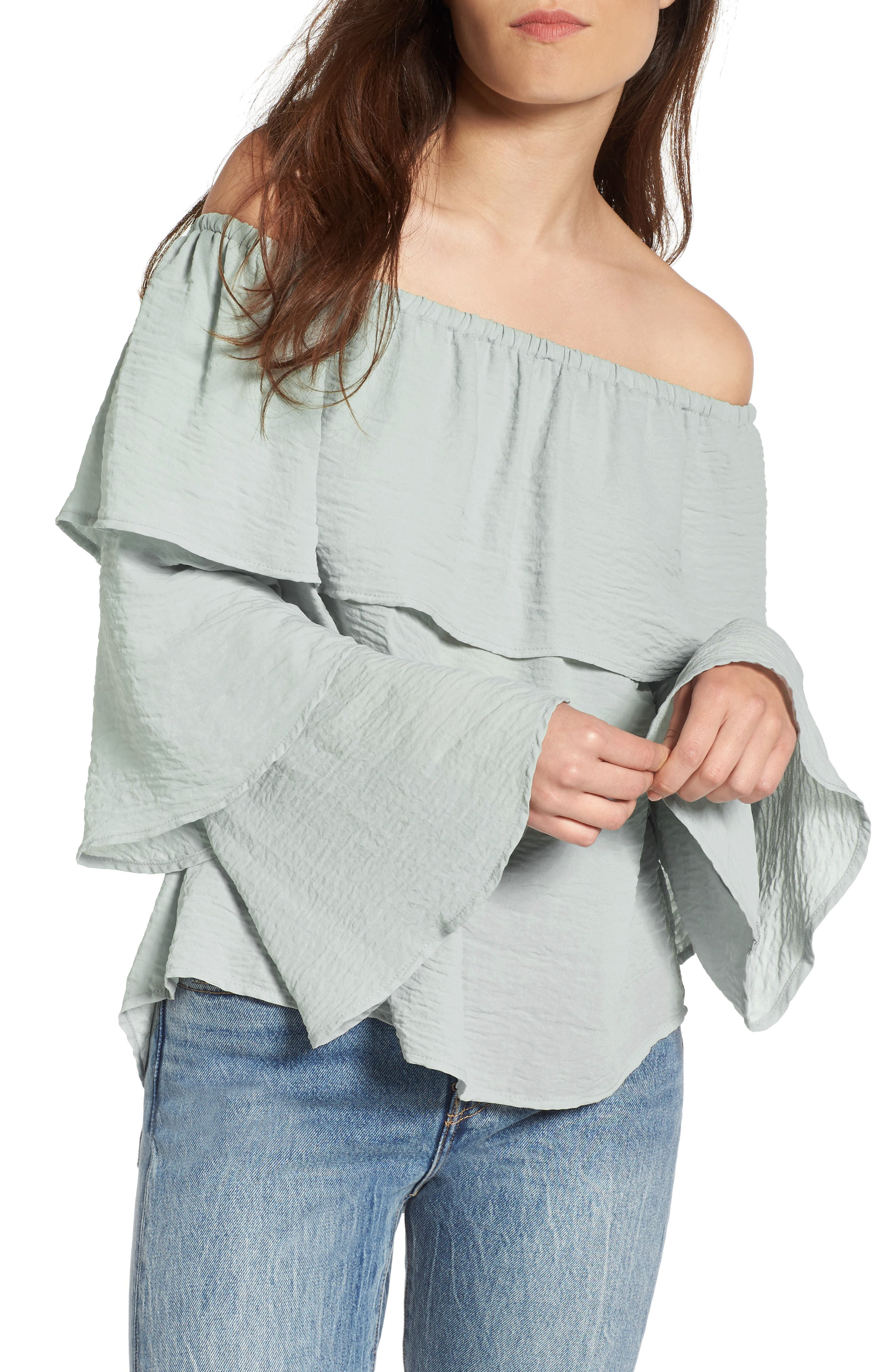 Tiered Ruffle Sleeve Blouse,                             Main thumbnail 1, color,                             Puritan Grey #154702Tcx