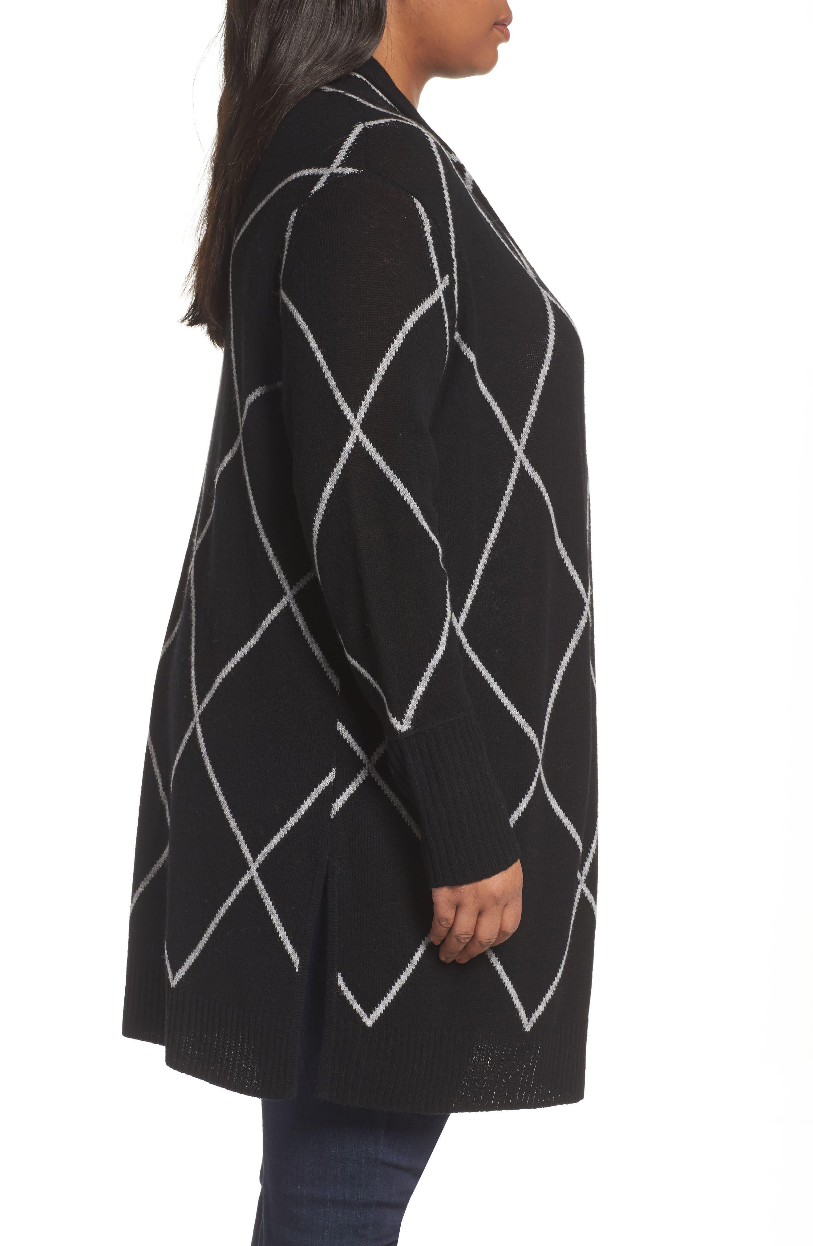 Windowpane Wool & Cashmere Cardigan,                             Alternate thumbnail 4, color,                             Black Windowpane