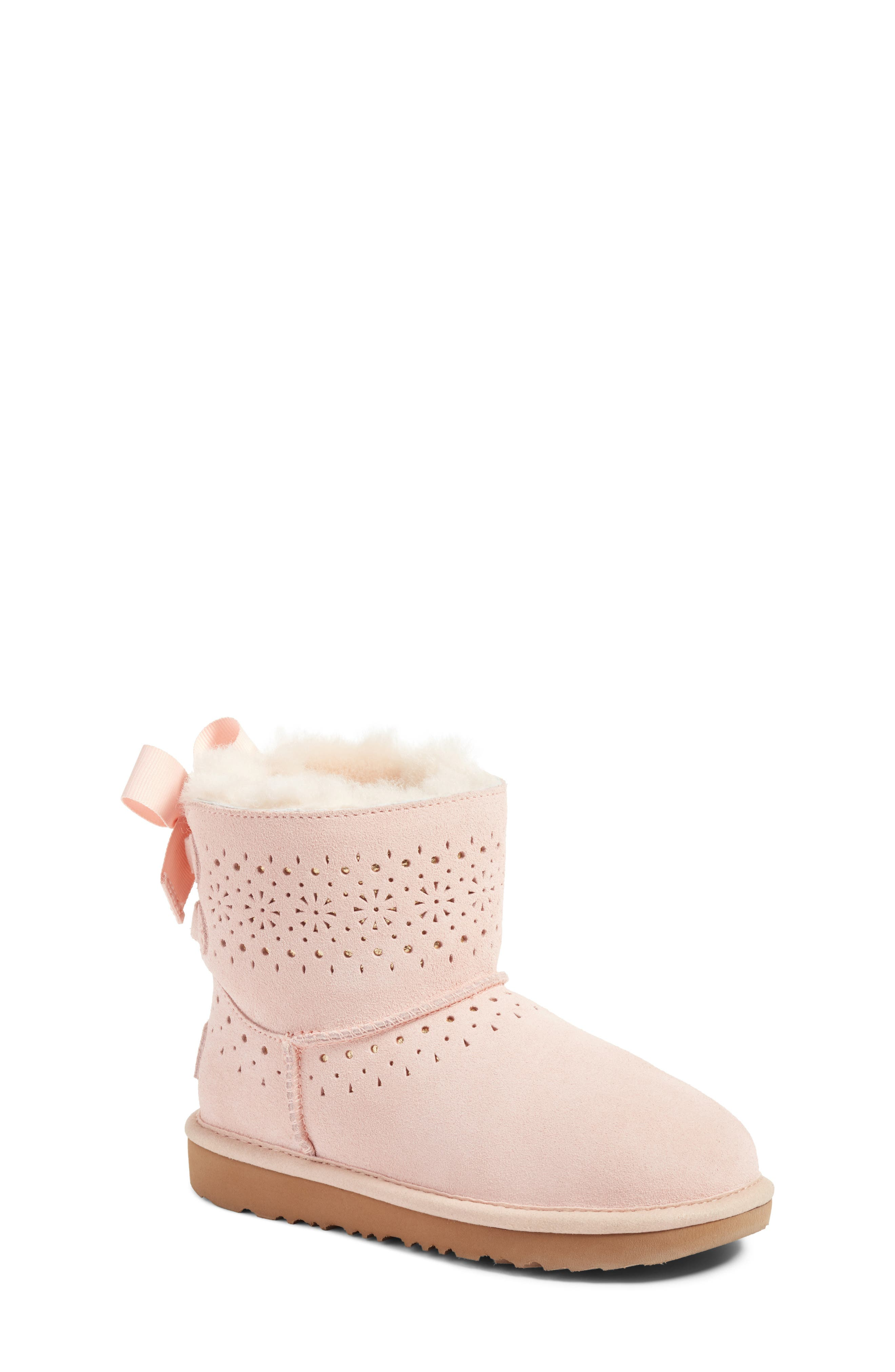 Dae Perforated Tie Back Boot,                         Main,                         color, Baby Pink