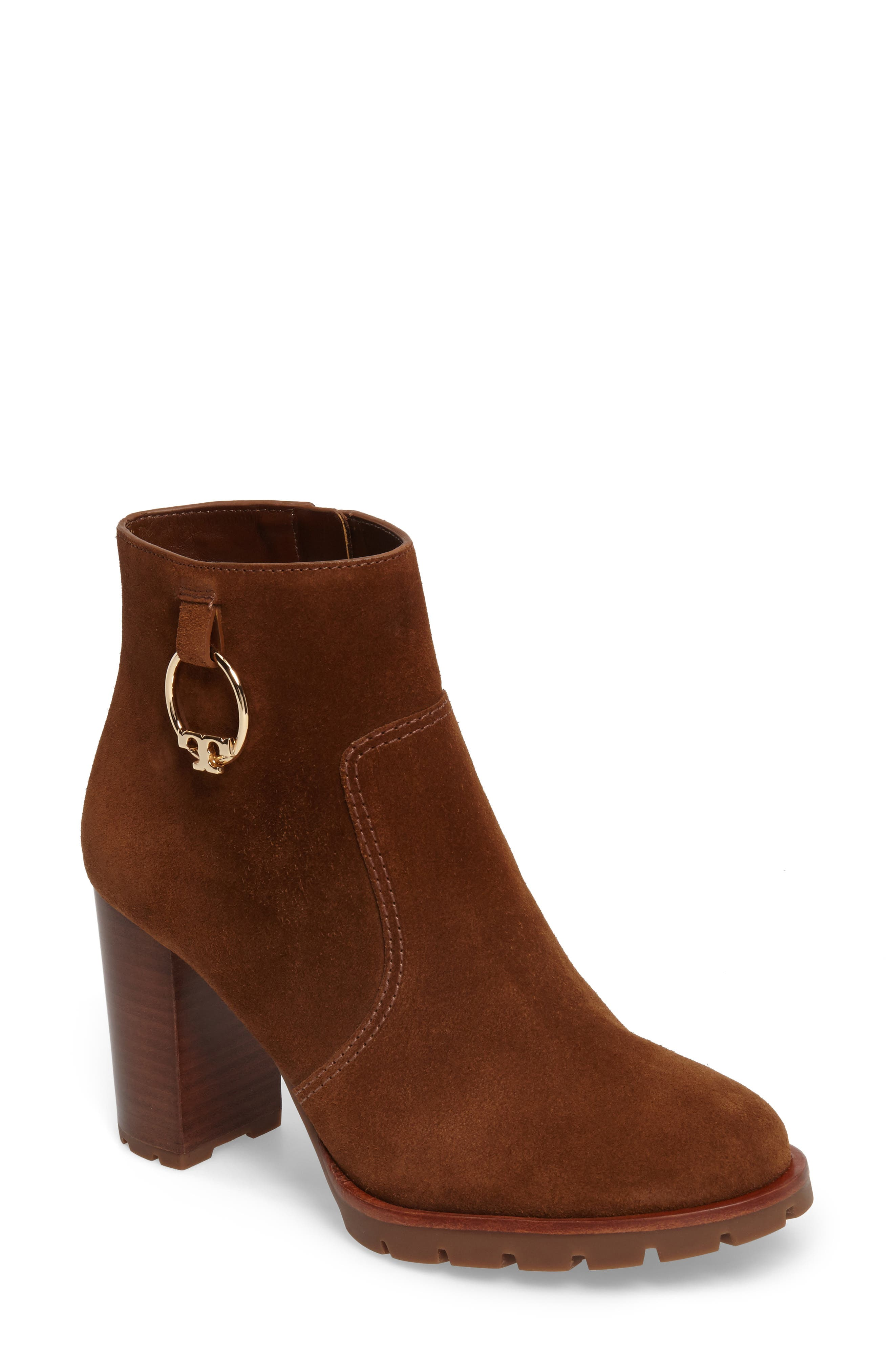Sofia Lugged Logo Charm Bootie,                         Main,                         color, Festival Brown