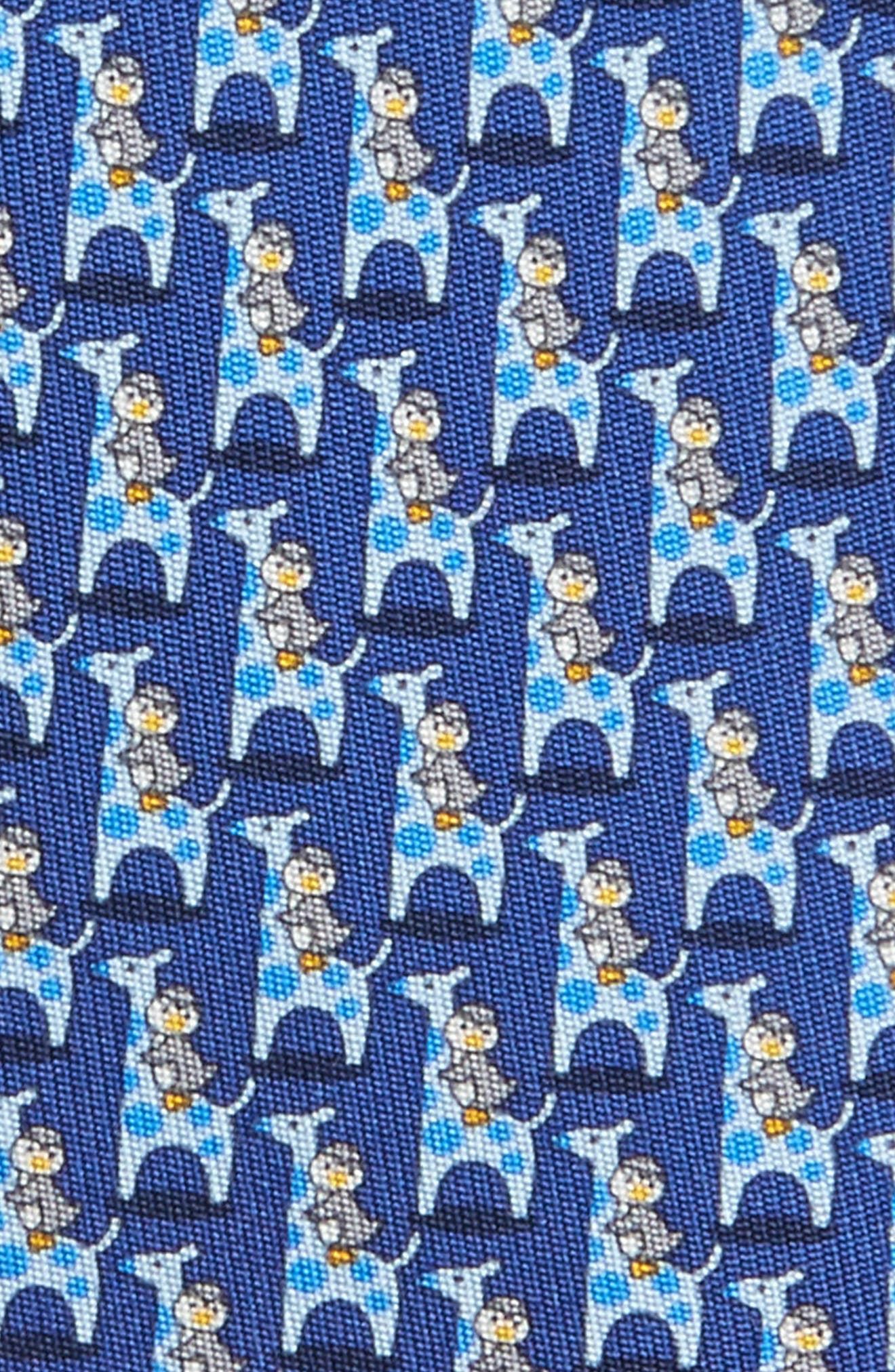 Puffin & Giraffe Silk Tie,                             Alternate thumbnail 2, color,                             Blue