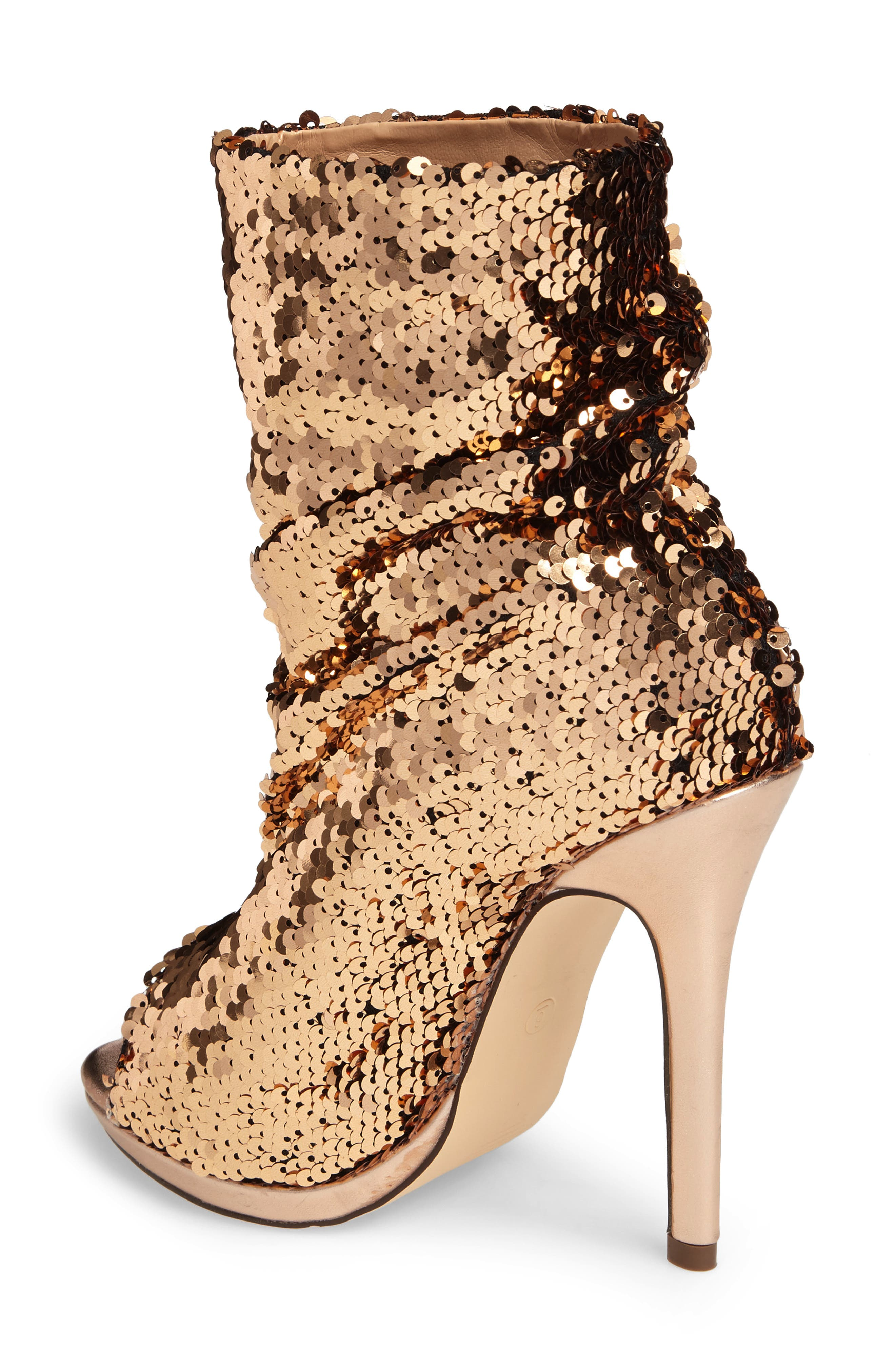 Marlow Sequin Slouch Bootie,                             Alternate thumbnail 2, color,                             Rose Gold