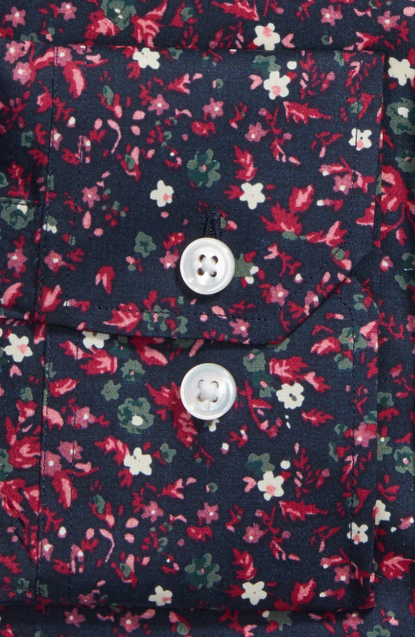 Mali Slim Fit Stretch Floral Dress Shirt,                             Alternate thumbnail 2, color,                             Black Raspberry