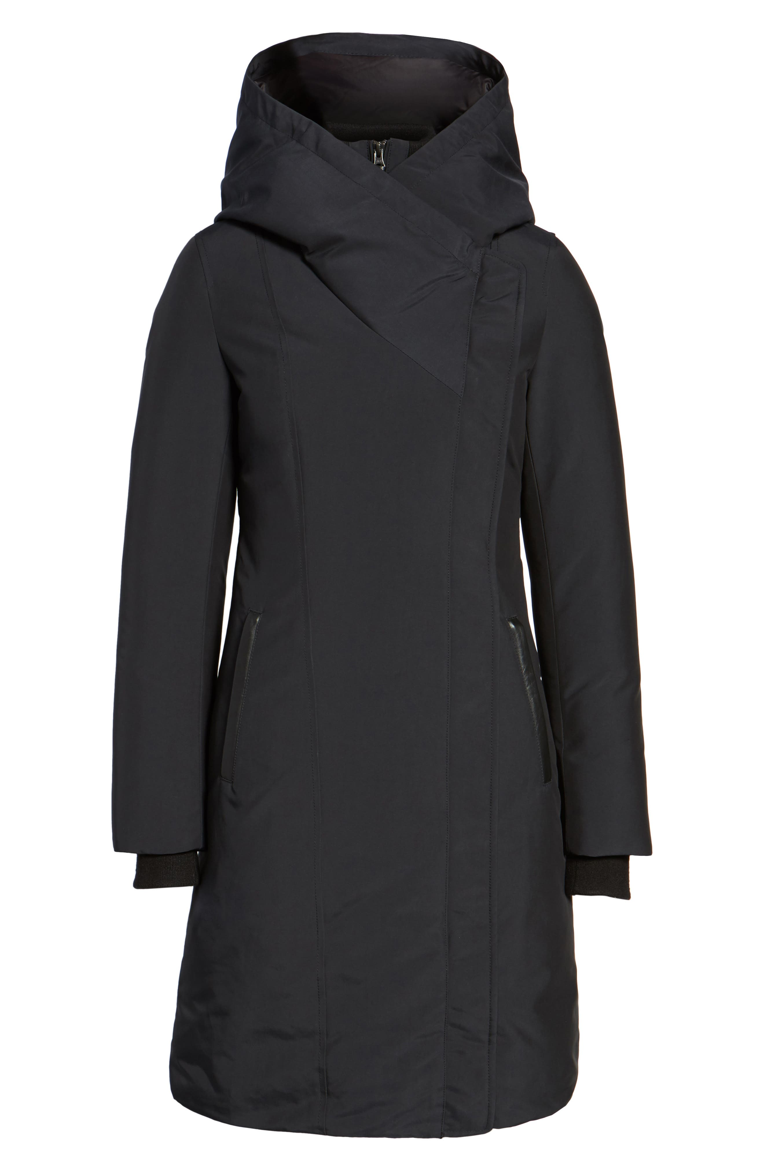 Hooded Asymmetrical Down Coat with Inset Bib,                             Alternate thumbnail 5, color,                             Black