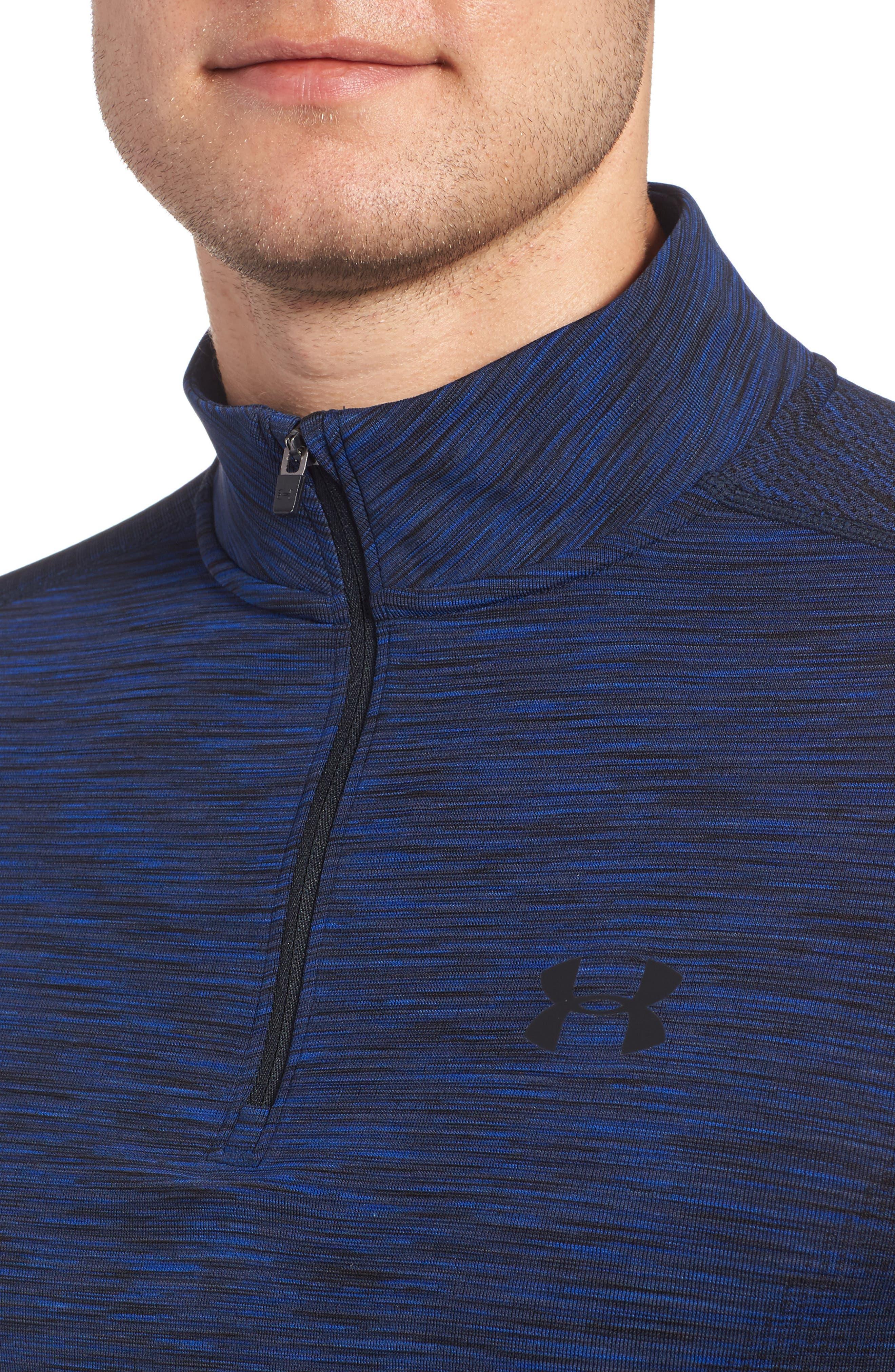 Threadborne Seamless Quarter Zip Pullover,                             Alternate thumbnail 4, color,                             Blue