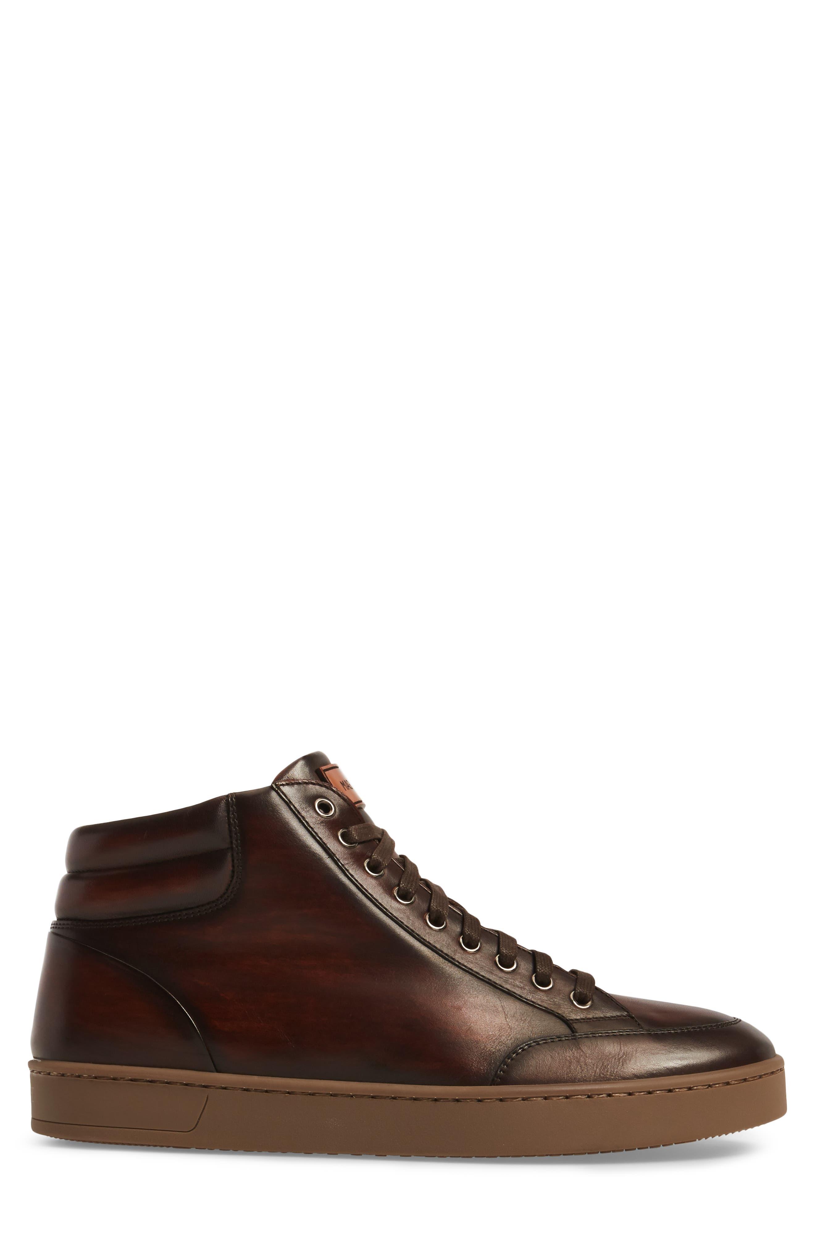 Carmel Sneaker,                             Alternate thumbnail 3, color,                             Mid Brown Leather