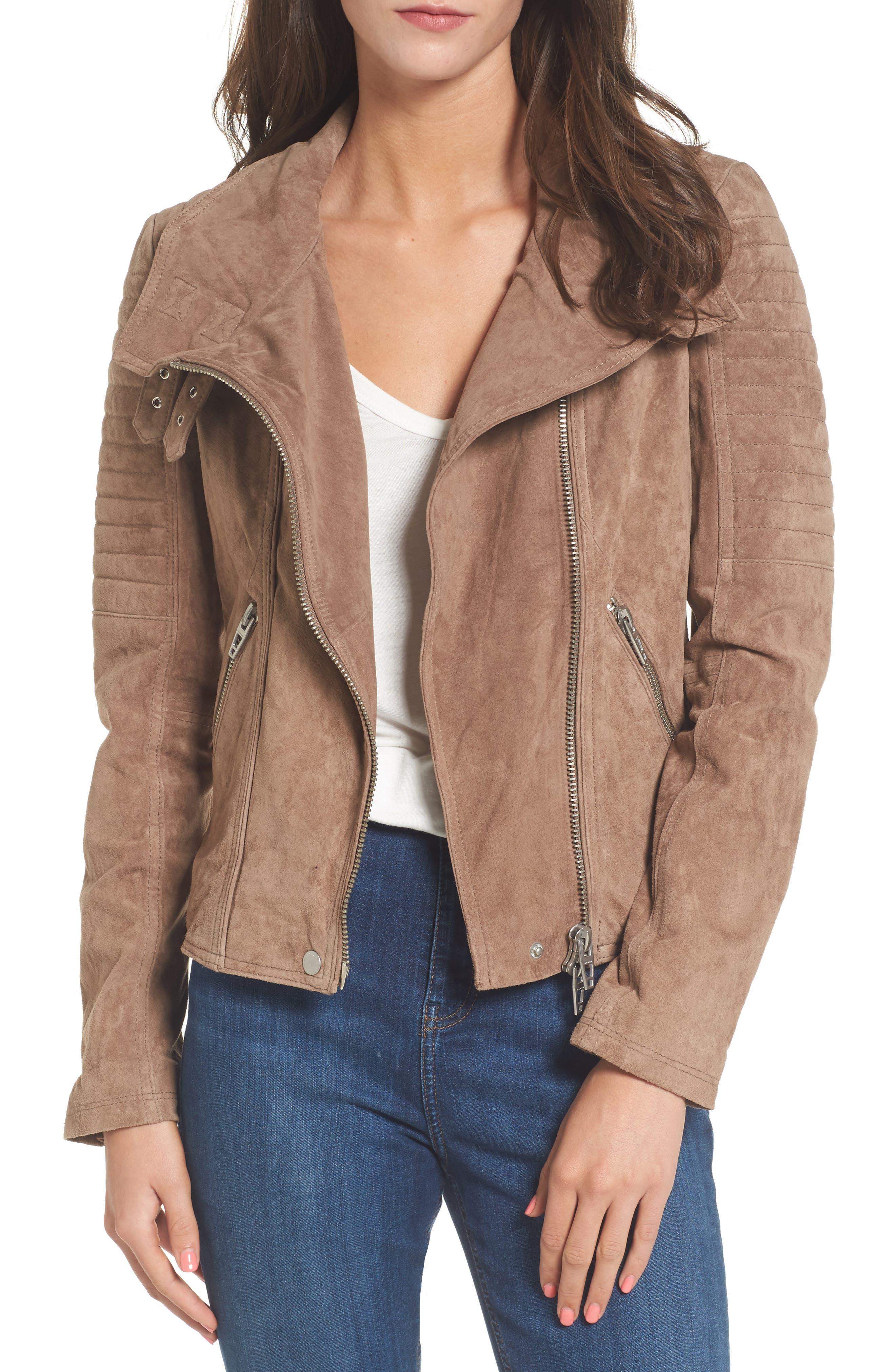 Crop Suede Moto Jacket,                         Main,                         color, Midnight Toker
