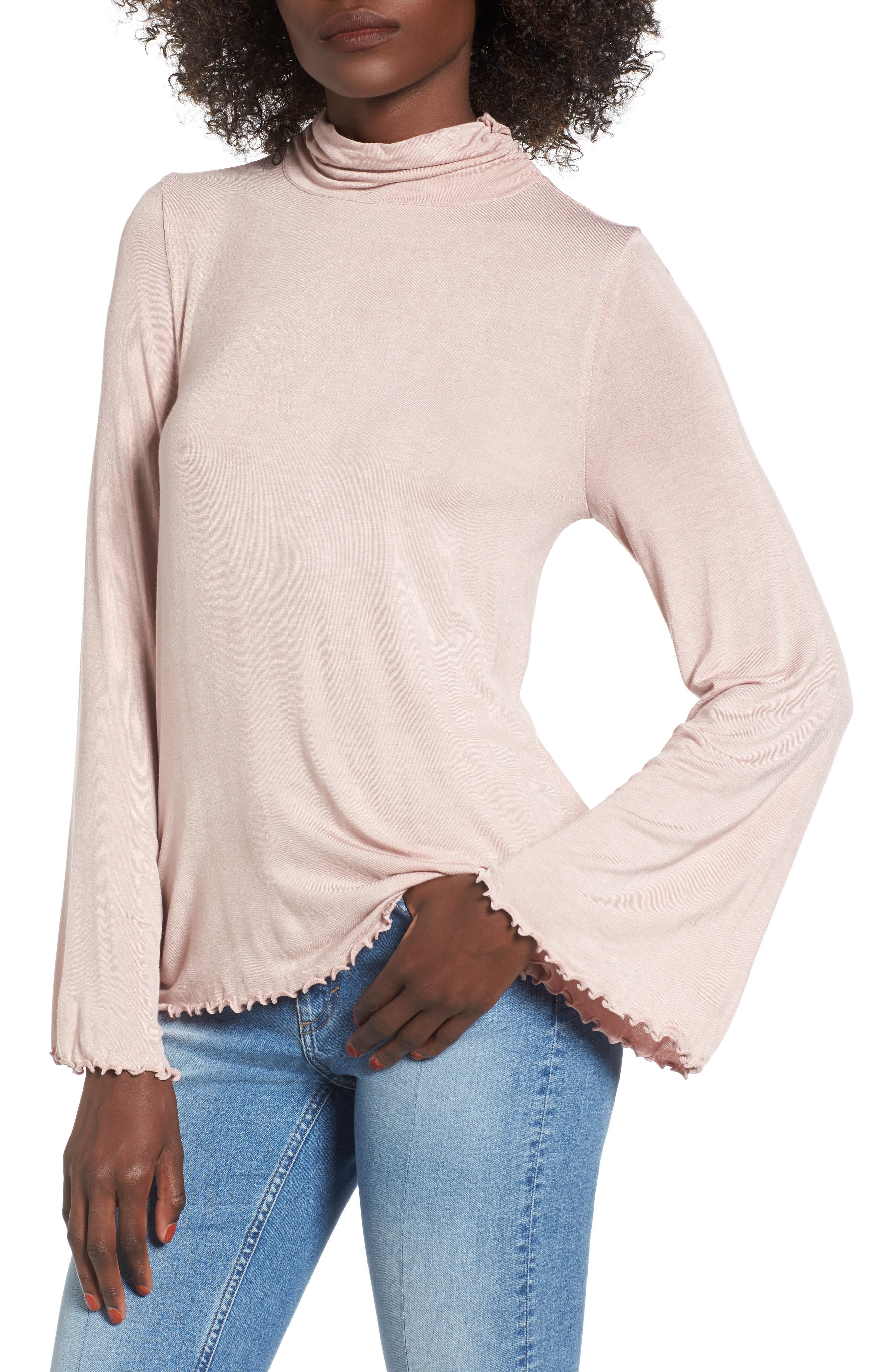 Bell Sleeve Turtleneck,                         Main,                         color, Pink Adobe