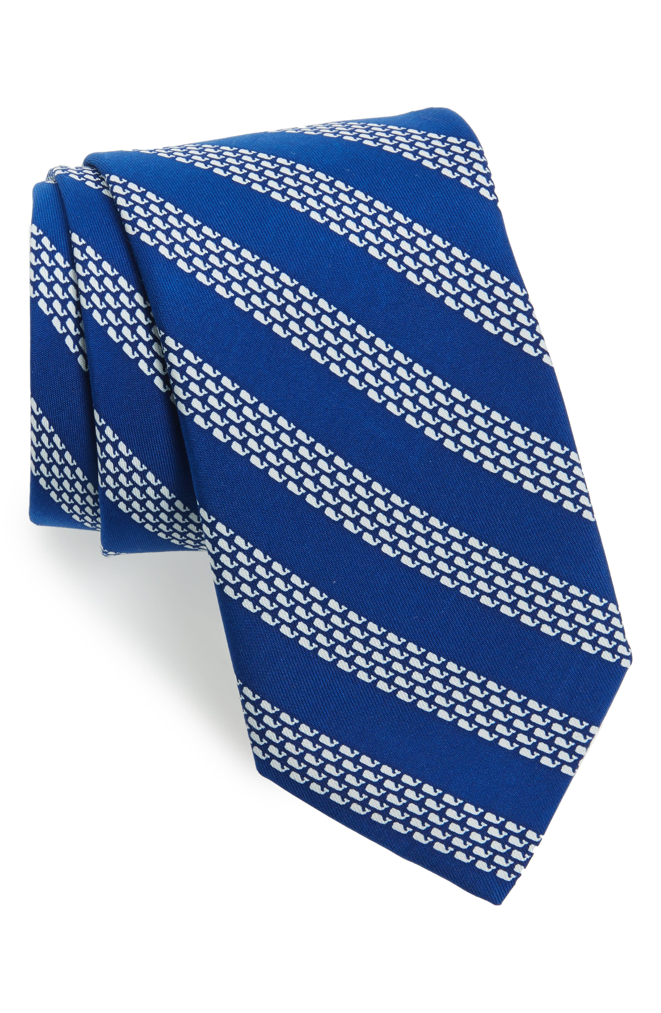 Whale Stripe Silk TIe,                         Main,                         color, Nautical Navy