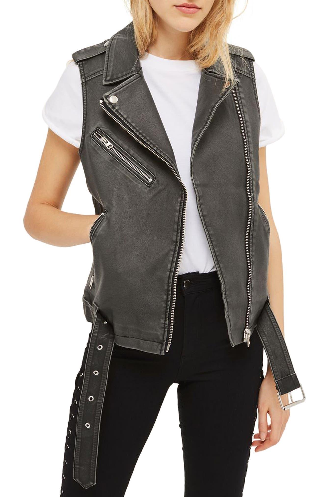 Blaze Faux Leather Biker Vest,                             Main thumbnail 1, color,                             Washed Black