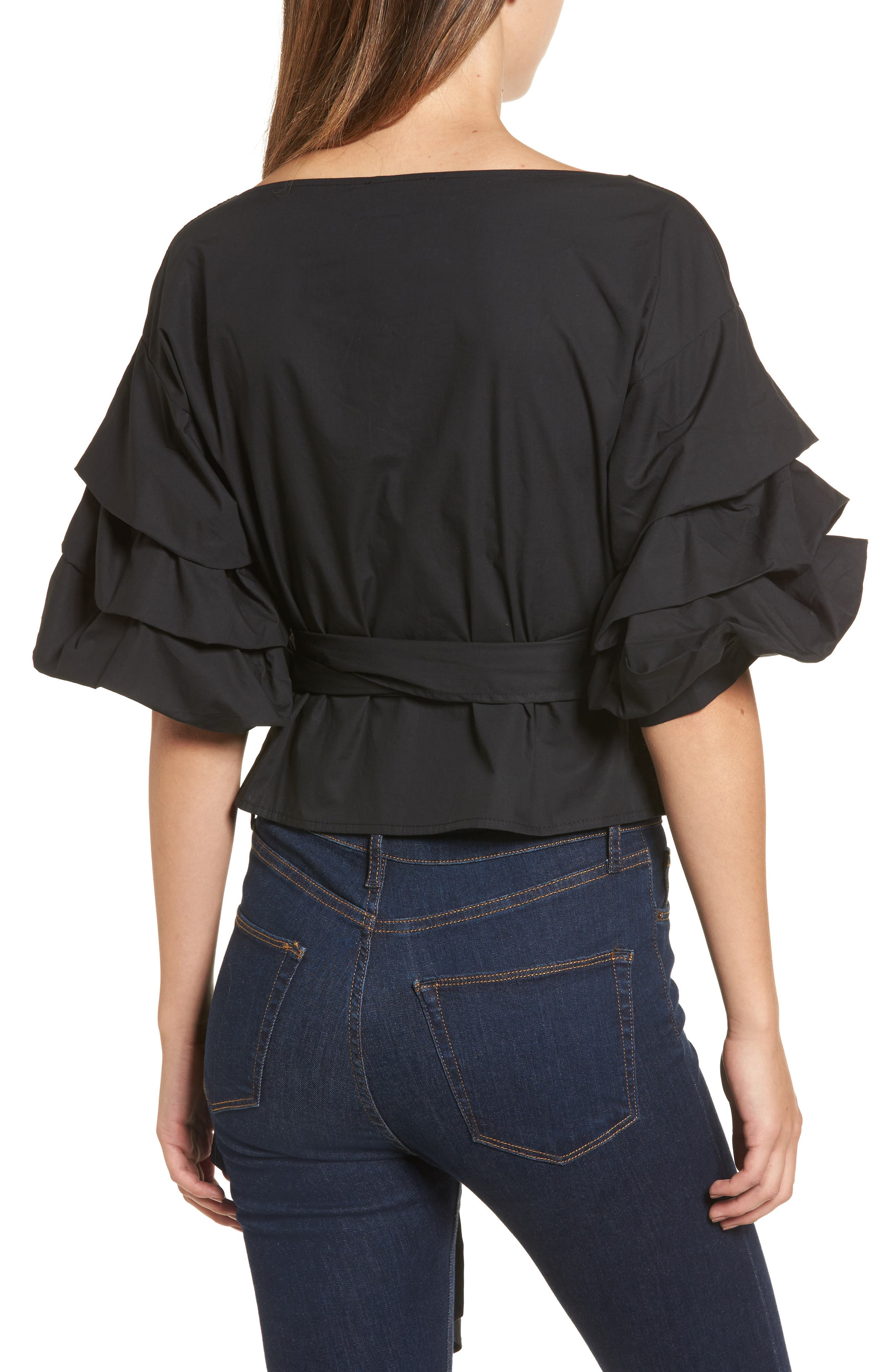 Esmerelda Wrap Top,                             Alternate thumbnail 2, color,                             Black