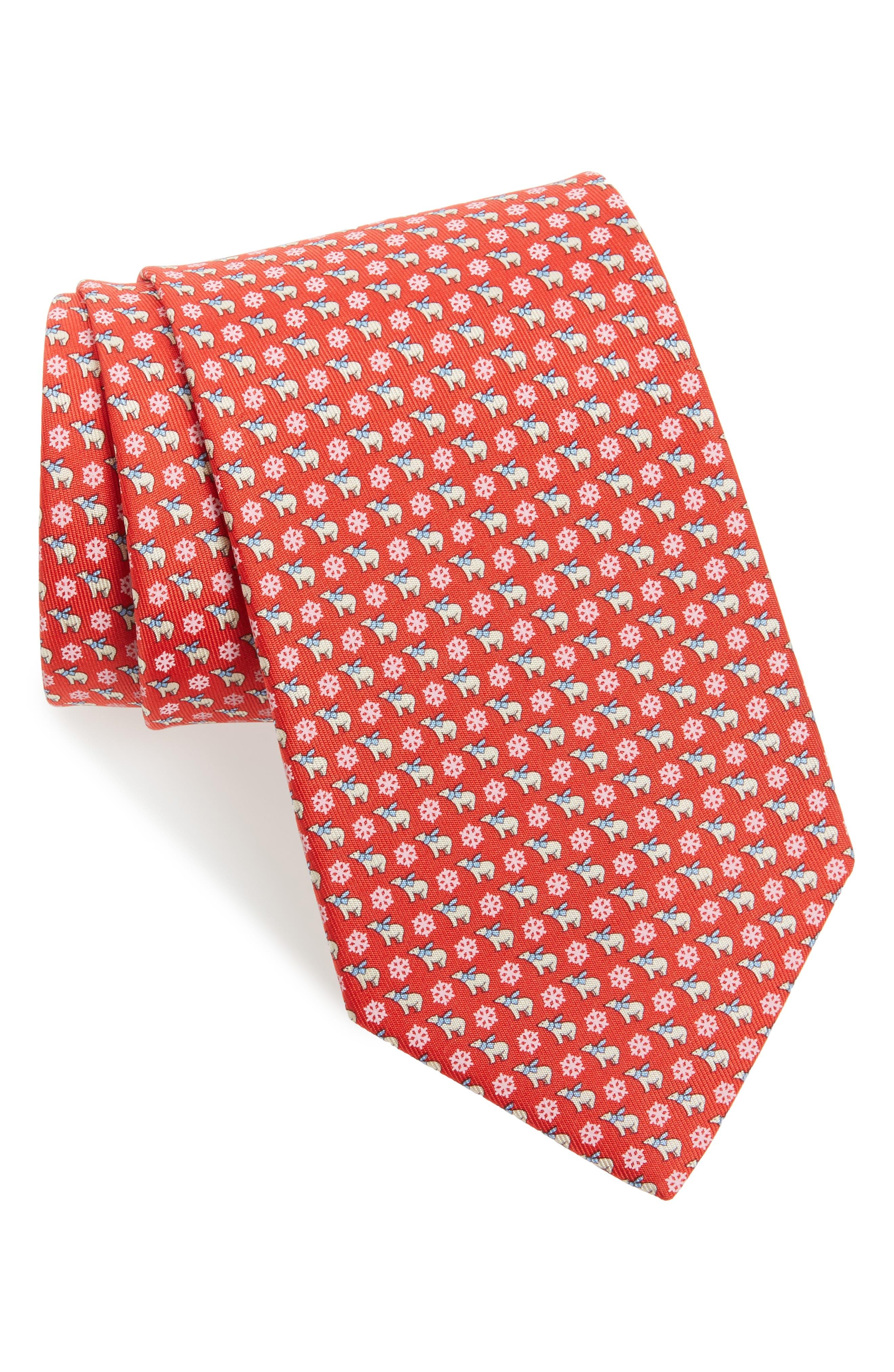 Bear Print Silk Tie,                             Main thumbnail 1, color,                             Red