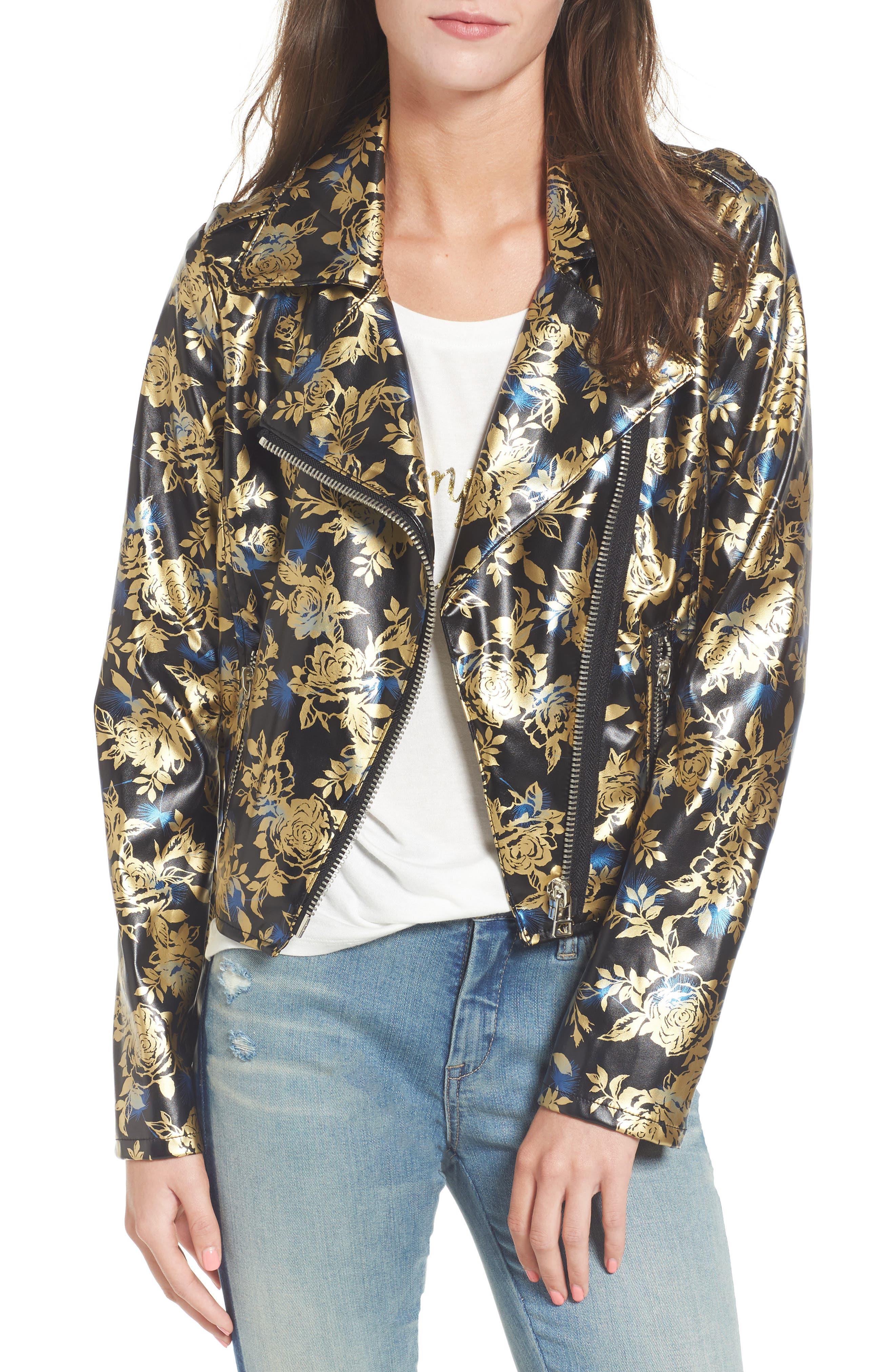 Main Image - Love, Fire Metallic Floral Biker Jacket