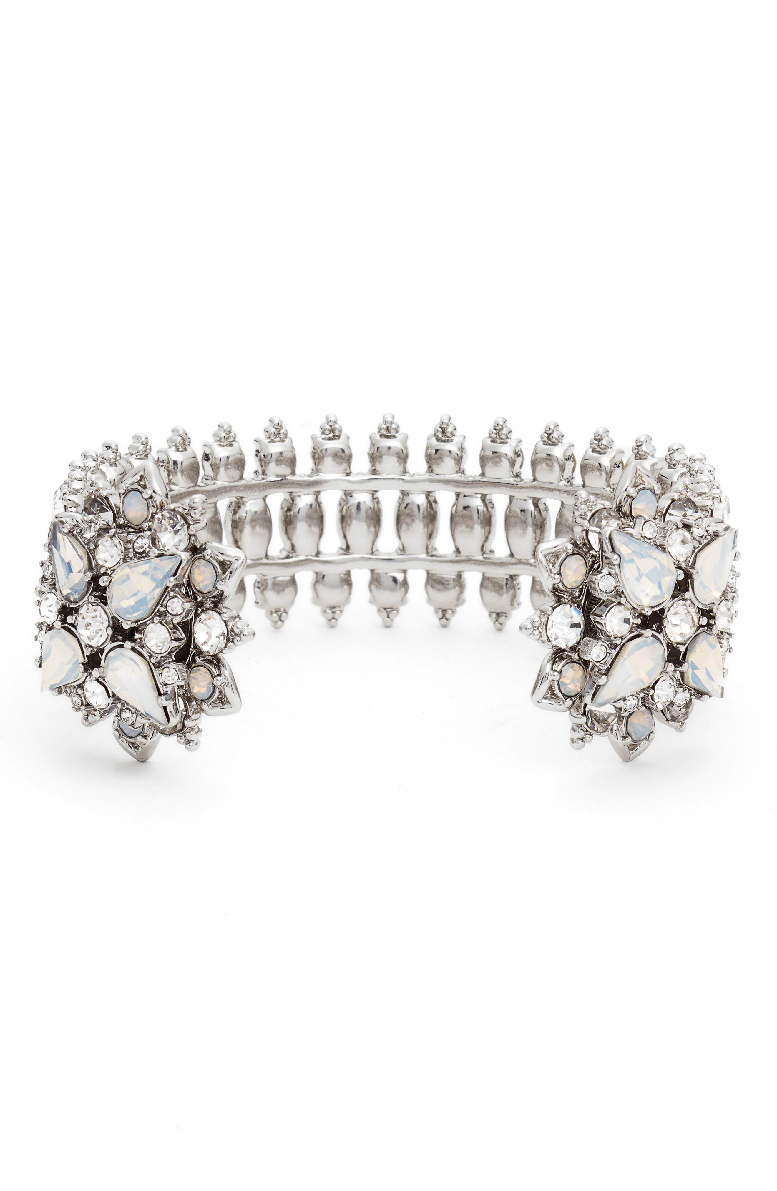 Crystal Wrist Cuff,                         Main,                         color, Rhodium/ White Multi