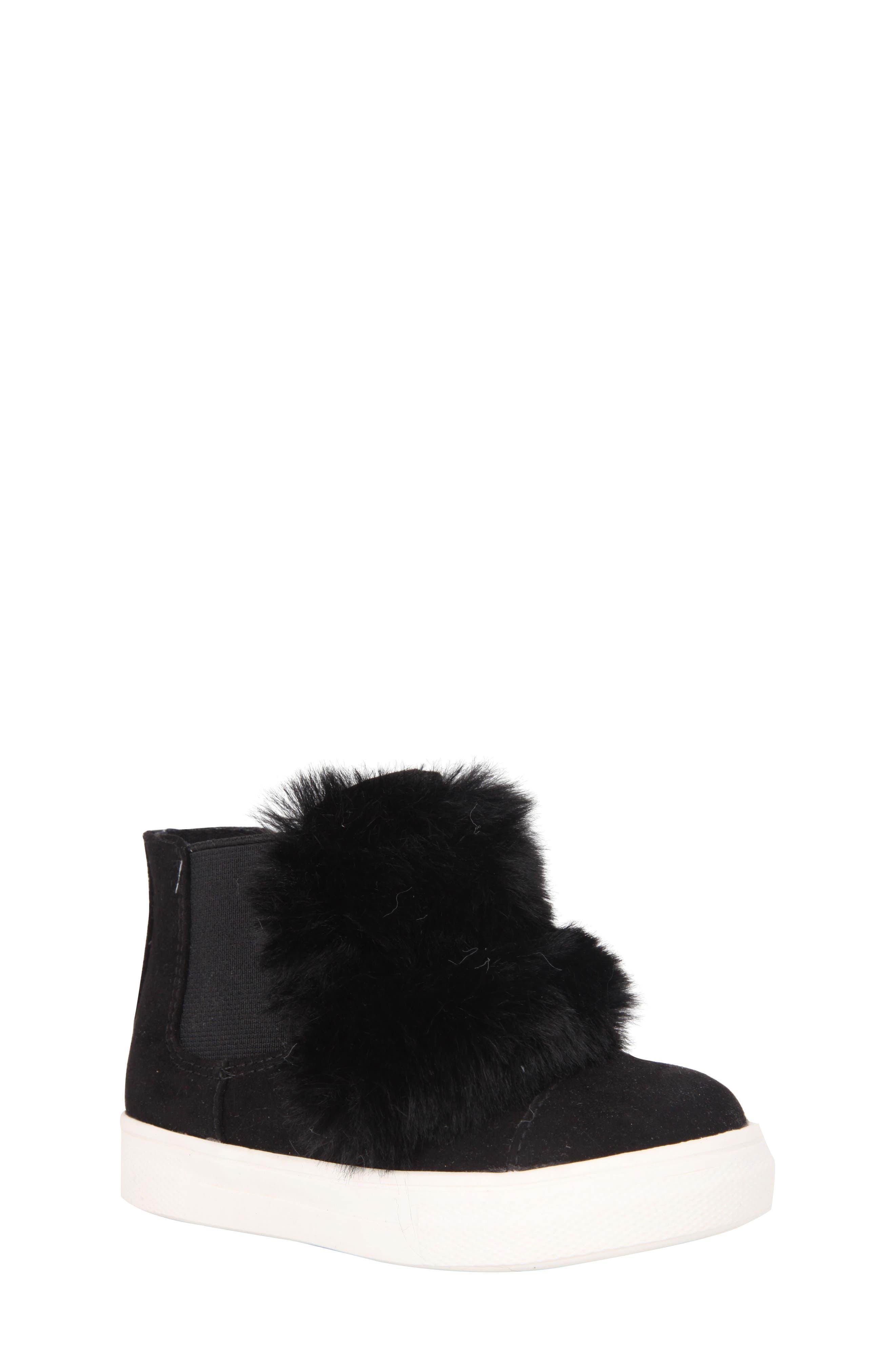 Helen Faux Fur Bootie Sneaker,                             Main thumbnail 1, color,                             Black Microsuede