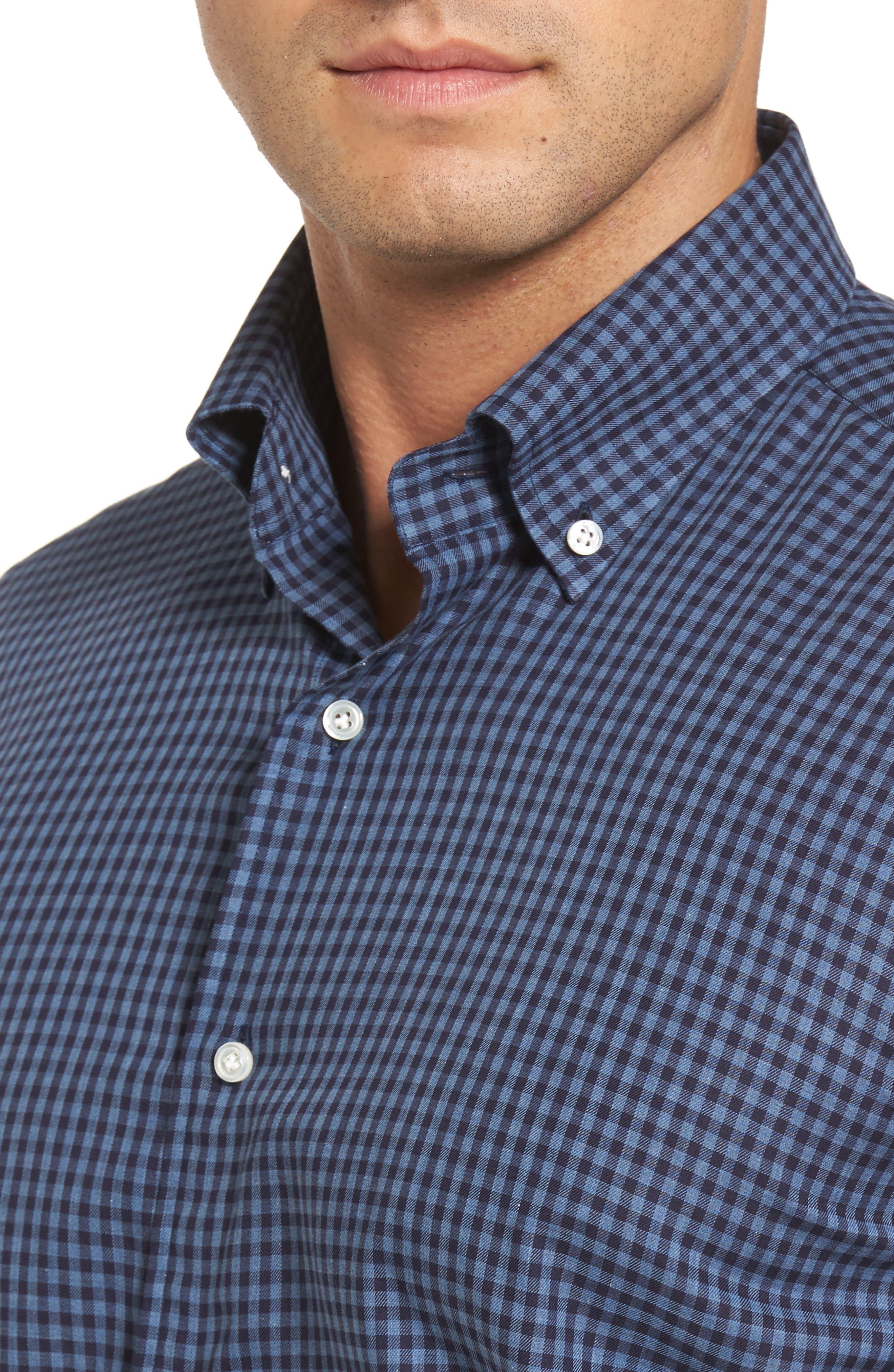 Peter Millar Caledonia Regular Fit Check Sport Shirt,                             Alternate thumbnail 4, color,                             Blue