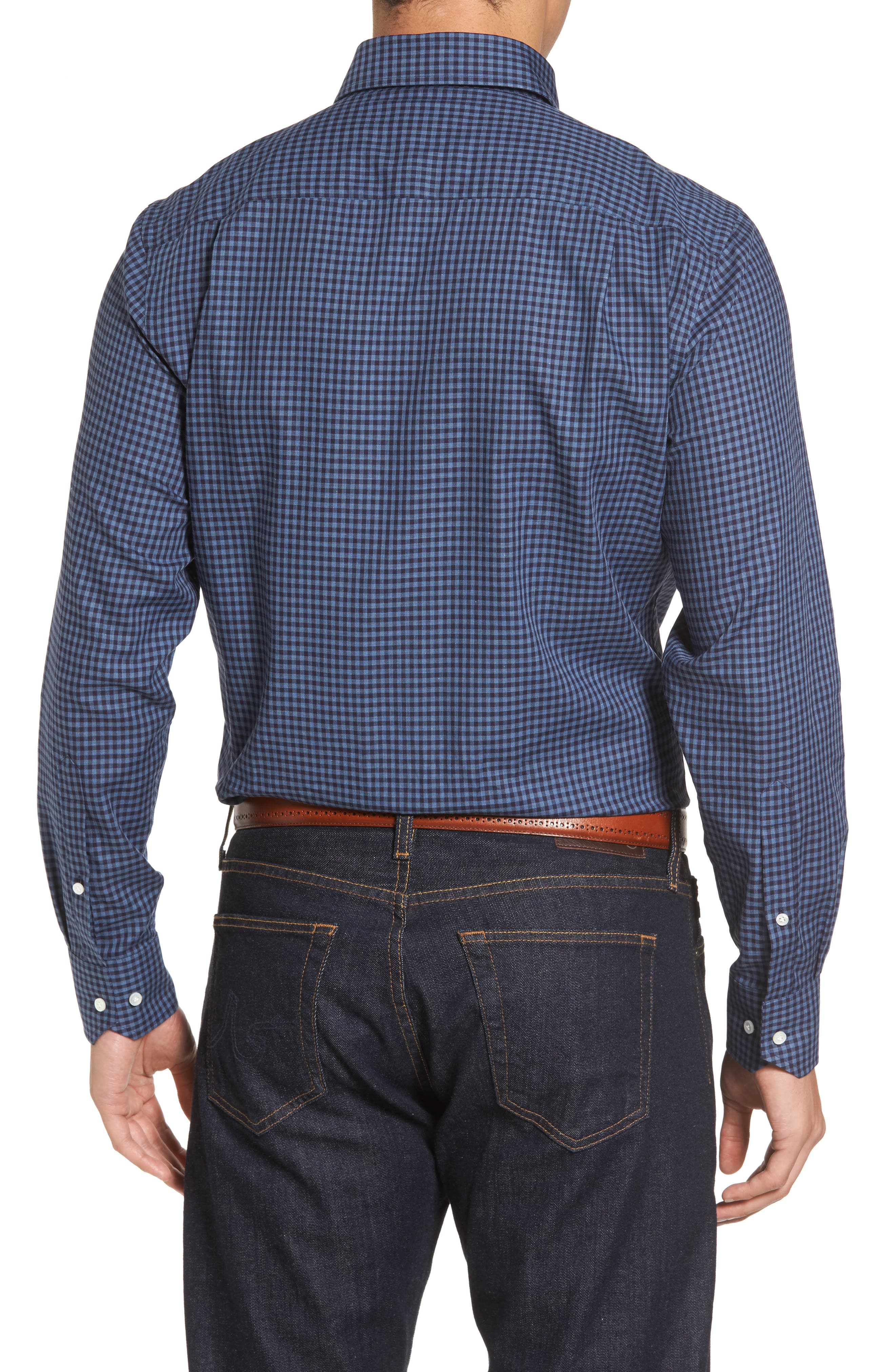 Peter Millar Caledonia Regular Fit Check Sport Shirt,                             Alternate thumbnail 2, color,                             Blue