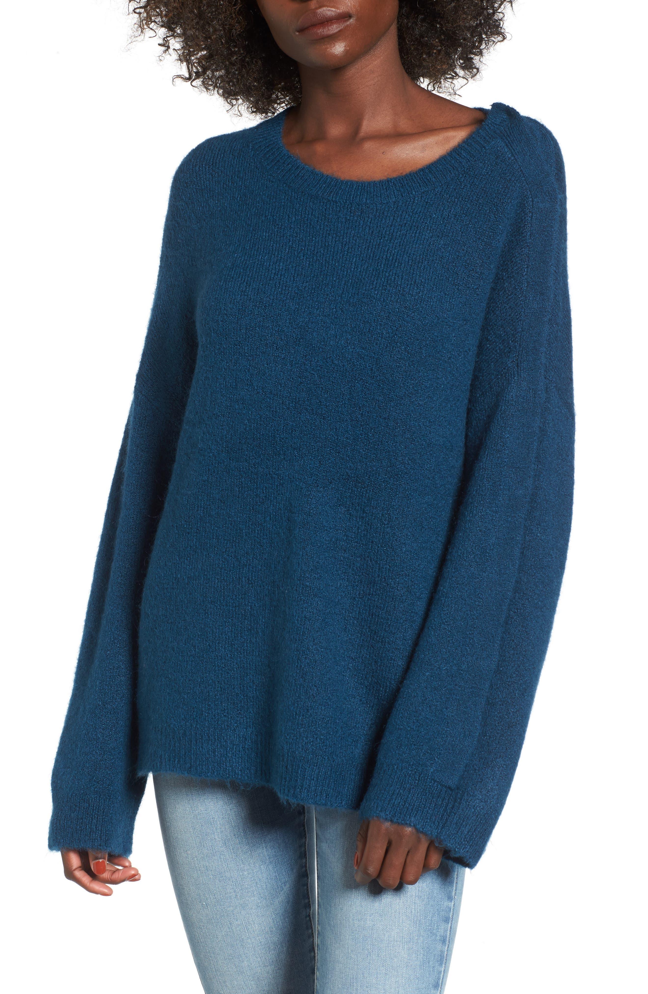 Snap Shoulder Sweater,                             Main thumbnail 1, color,                             Blue Ceramic