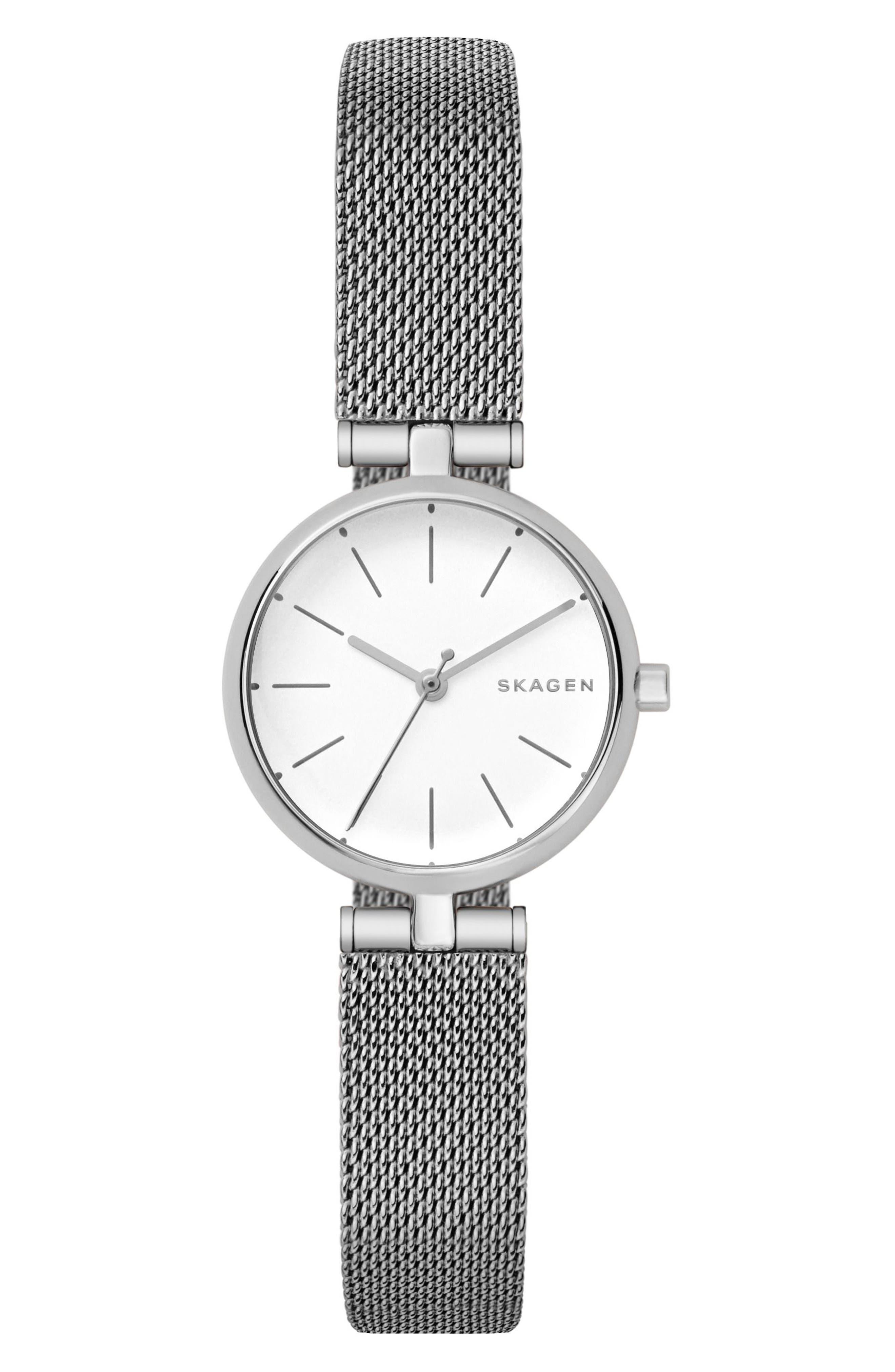 Signatur Mesh Strap Watch, 26mm,                         Main,                         color, Silver/ White/ Silver