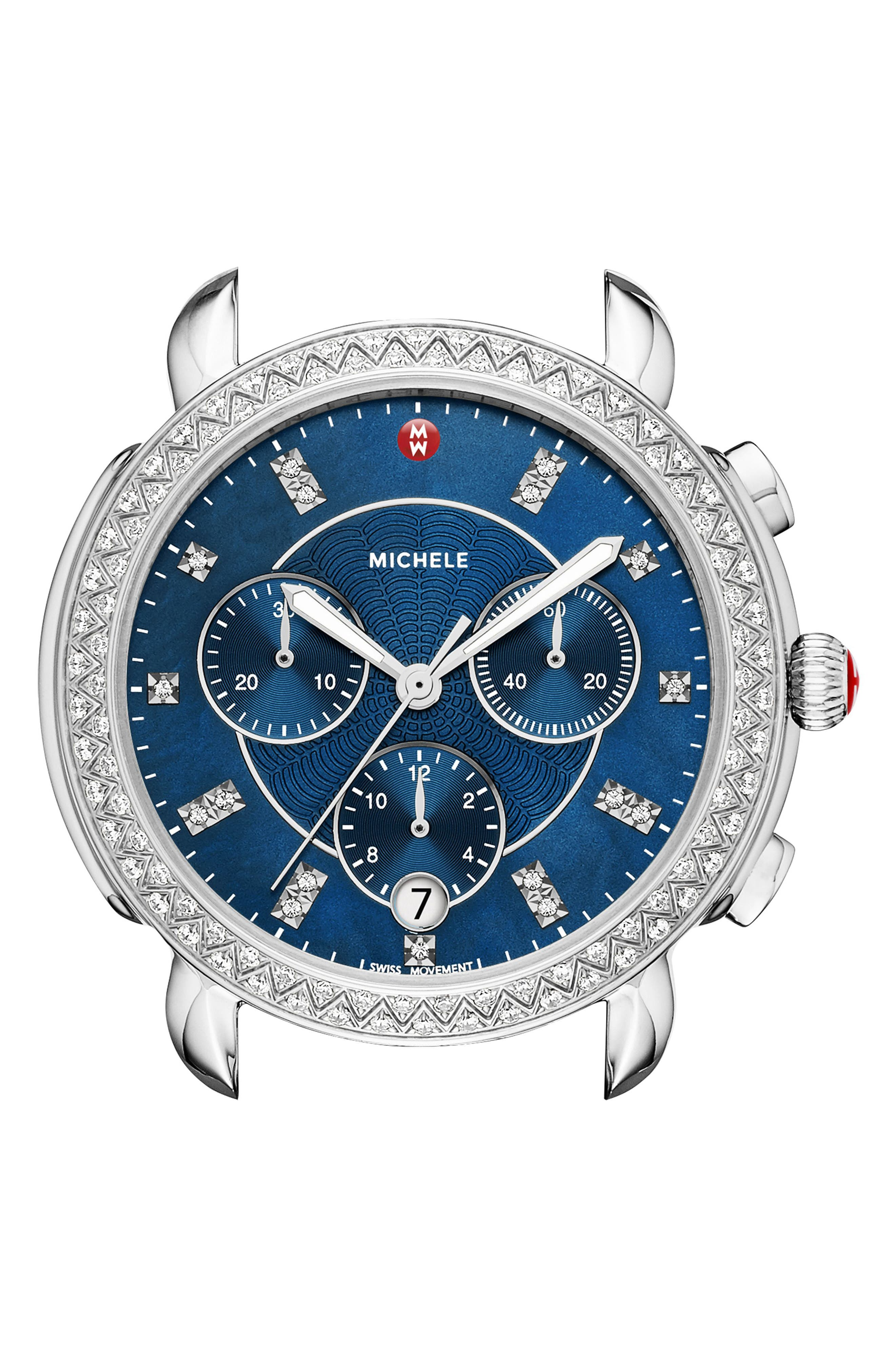 Michele sidney chrono diamond diamond dial watch case 38mm silver navy modesens for Diamond dial watch
