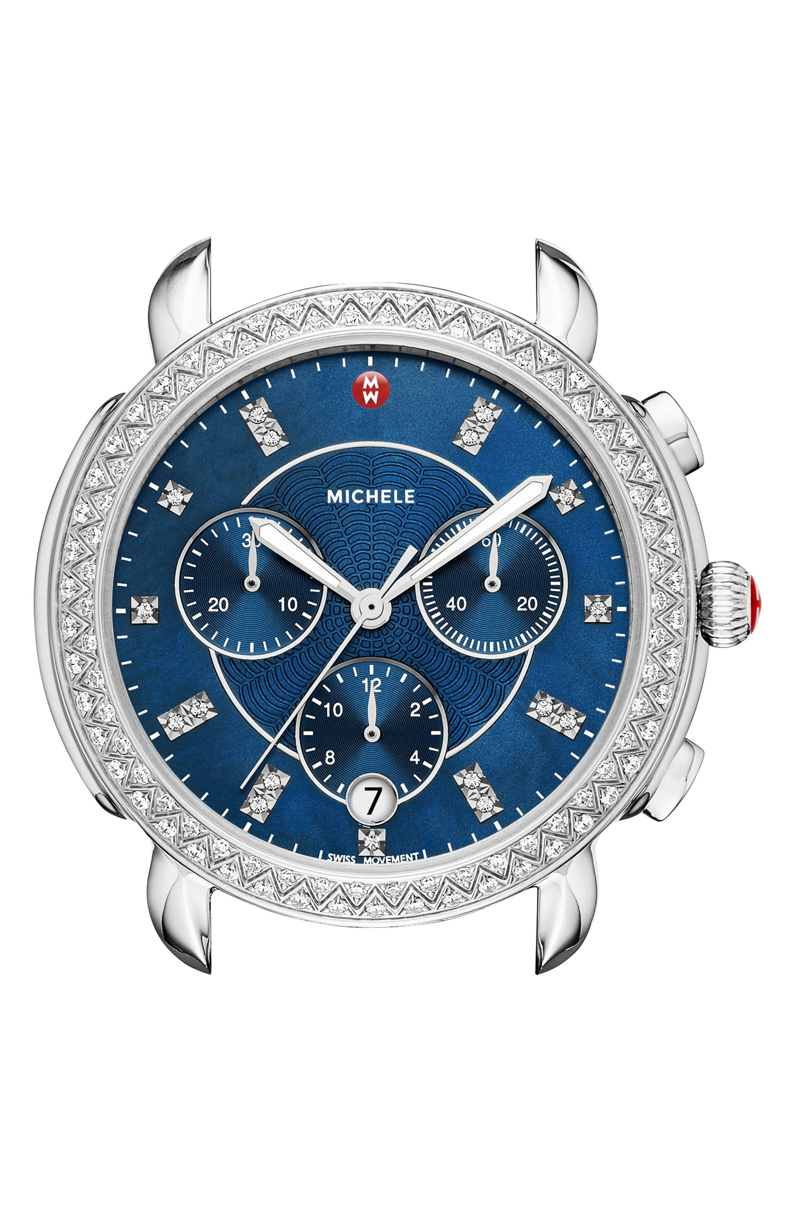 Main Image - MICHELE Sidney Chrono Diamond Diamond Dial Watch Case, 38mm