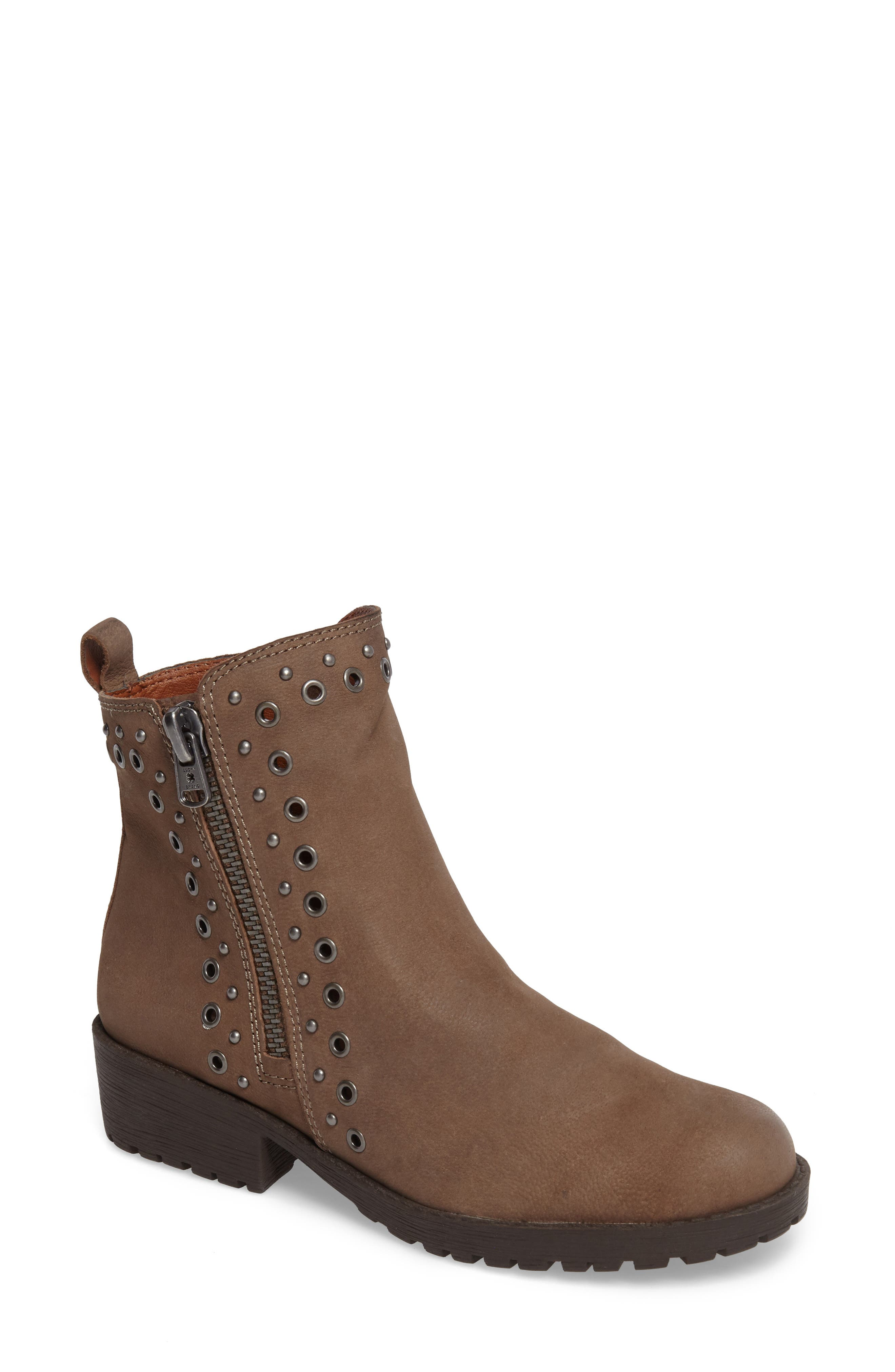 Hannie Embellished Bootie,                             Main thumbnail 1, color,                             Brindle Leather