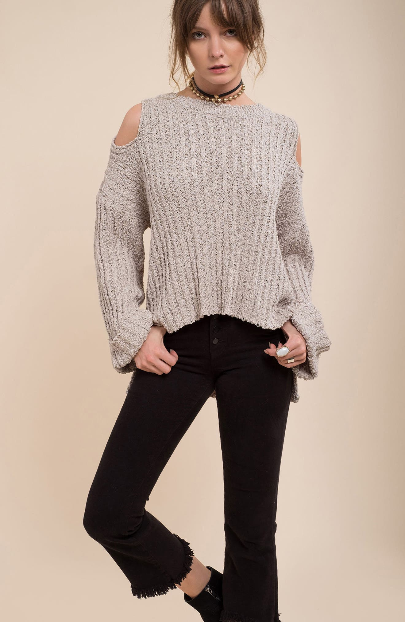 Fuzzy Knit Cold Shoulder Sweater,                             Alternate thumbnail 7, color,                             Grey