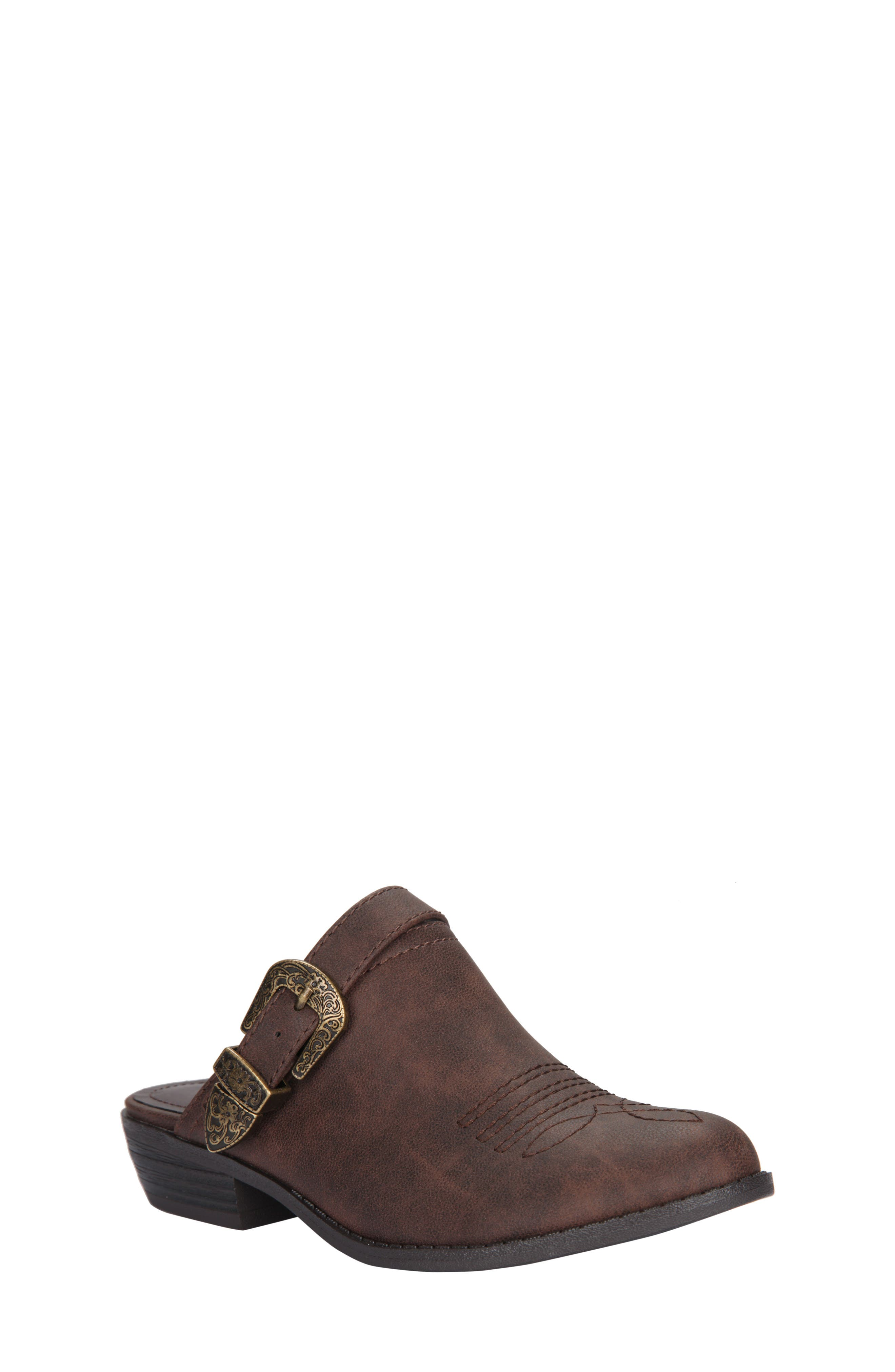 Deb Swivel Strap Clog,                         Main,                         color, Brown Faux Leather