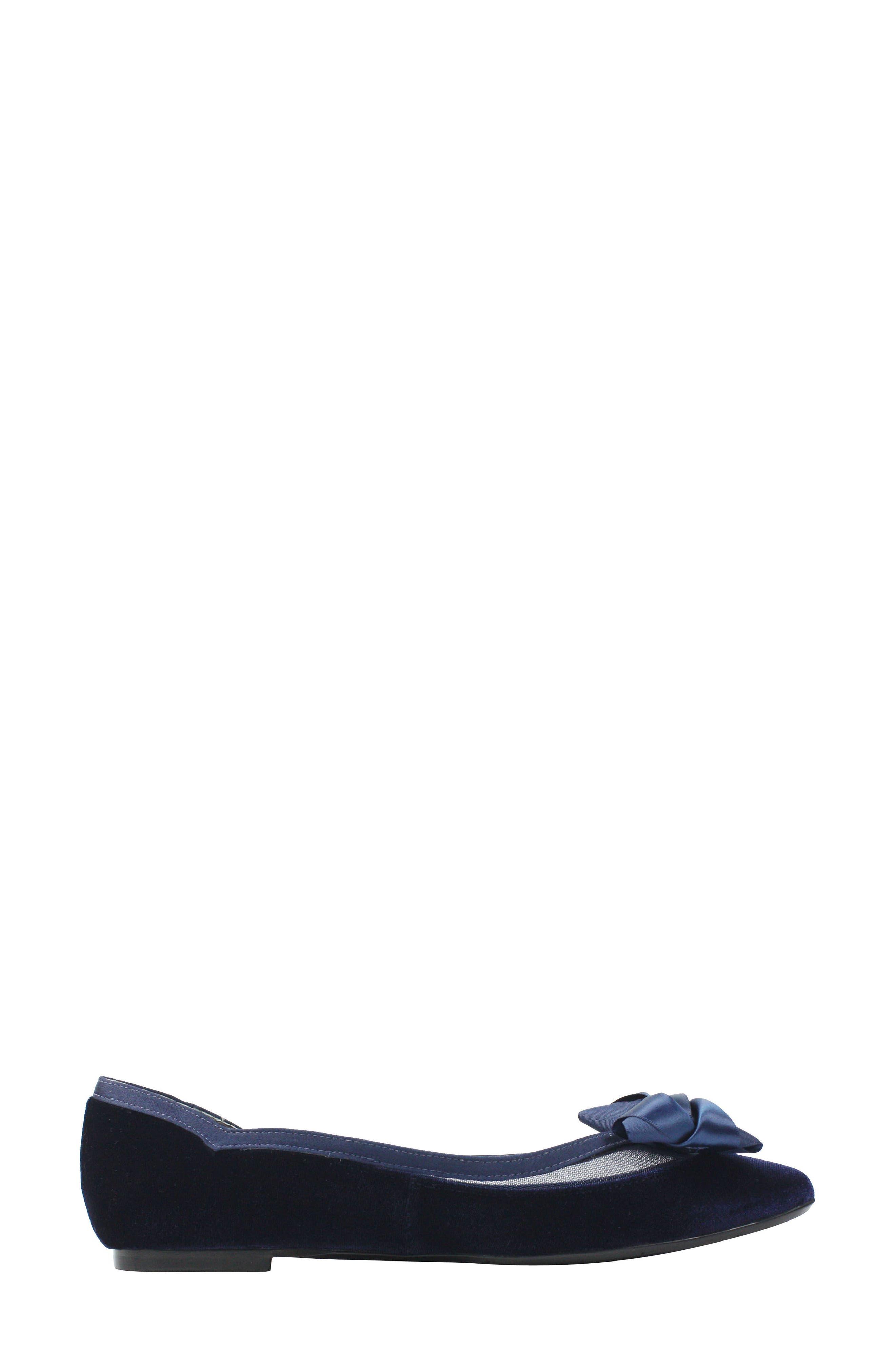 Allitson Bow Flat,                             Alternate thumbnail 3, color,                             Navy Velvet Fabric
