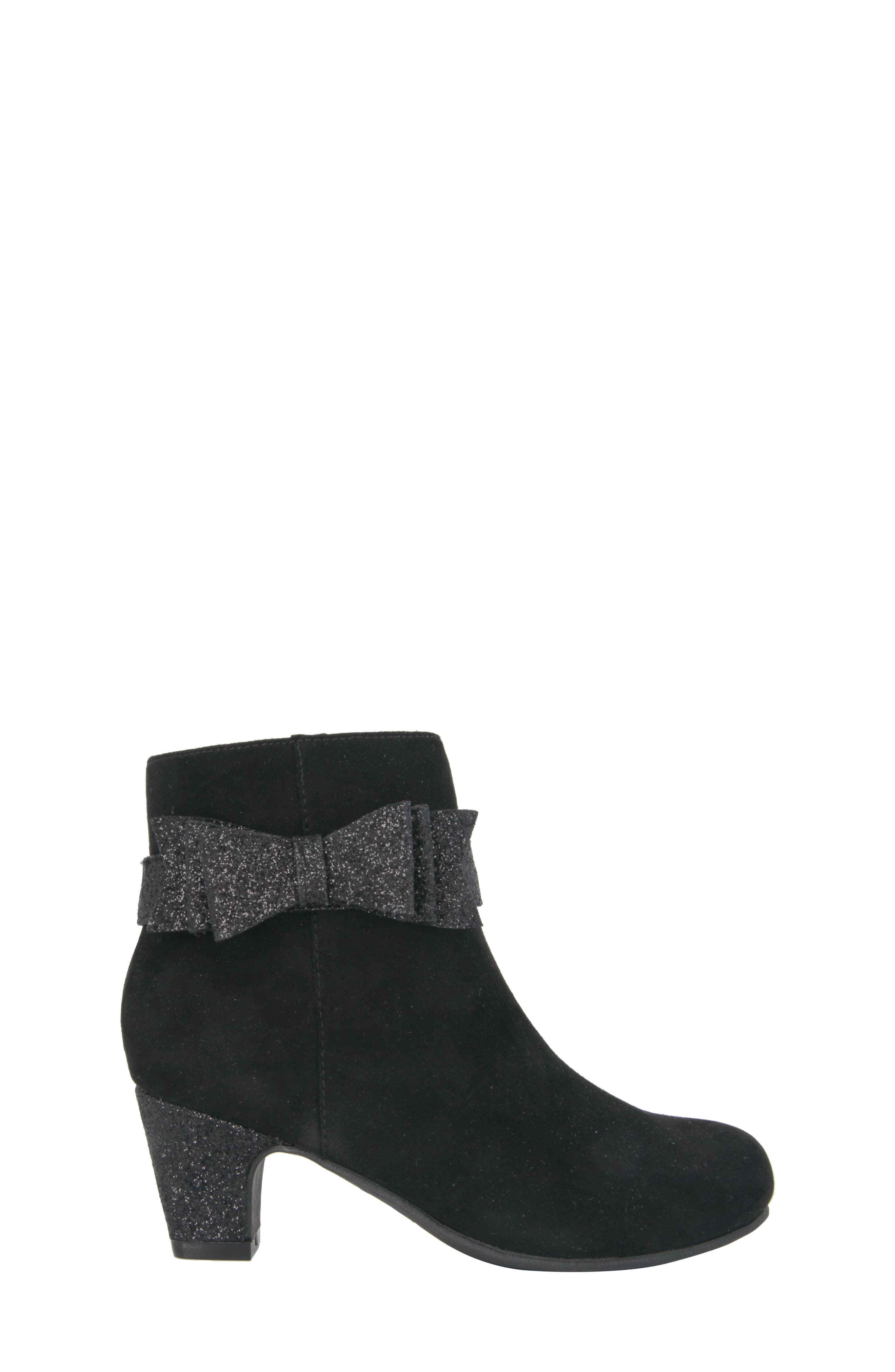 Glitter Bow Bootie,                             Alternate thumbnail 3, color,                             Black Suede/ Glitter