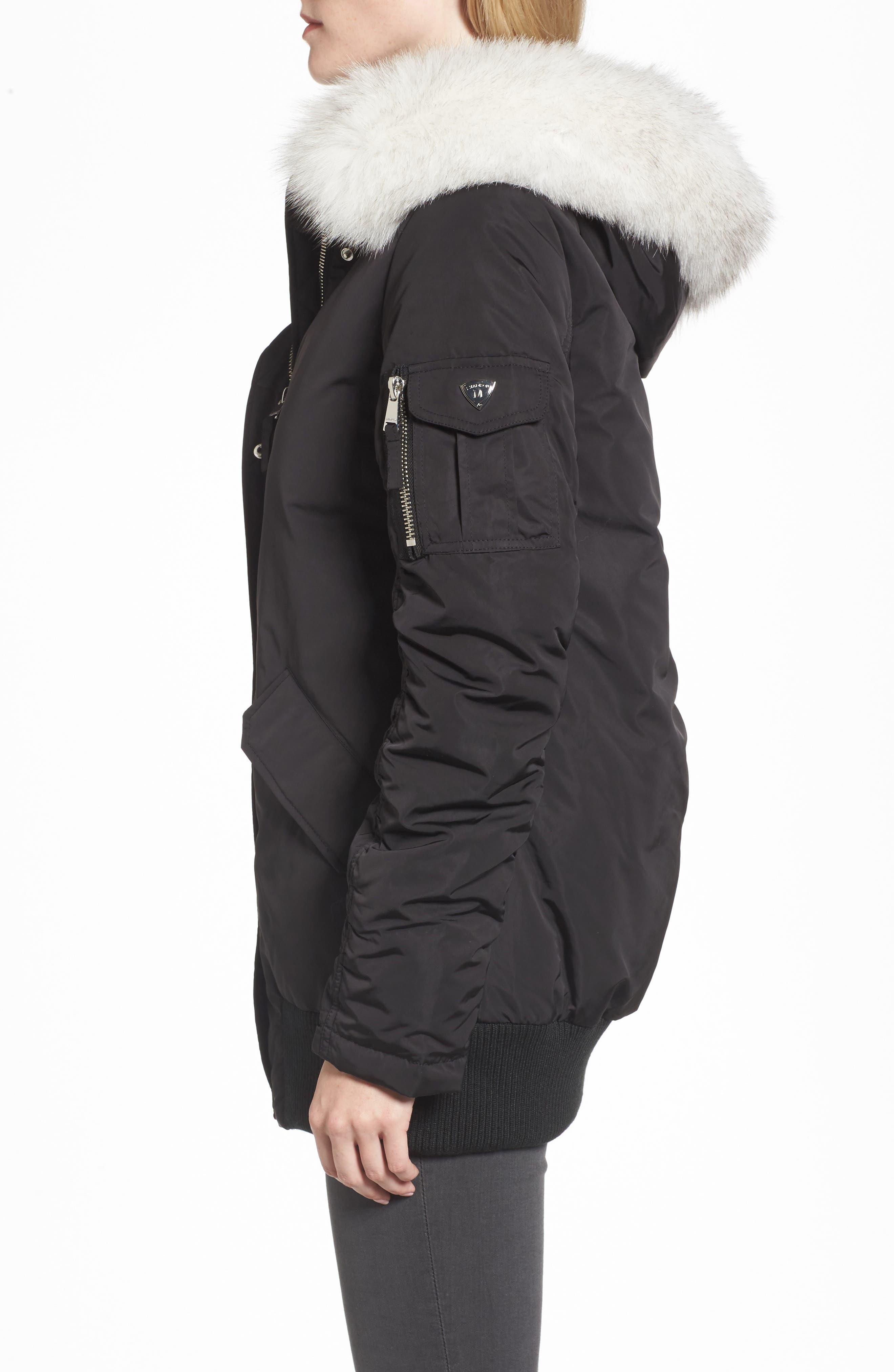 Genuine Fox Fur Trim Down Bomber Jacket,                             Alternate thumbnail 3, color,                             Black