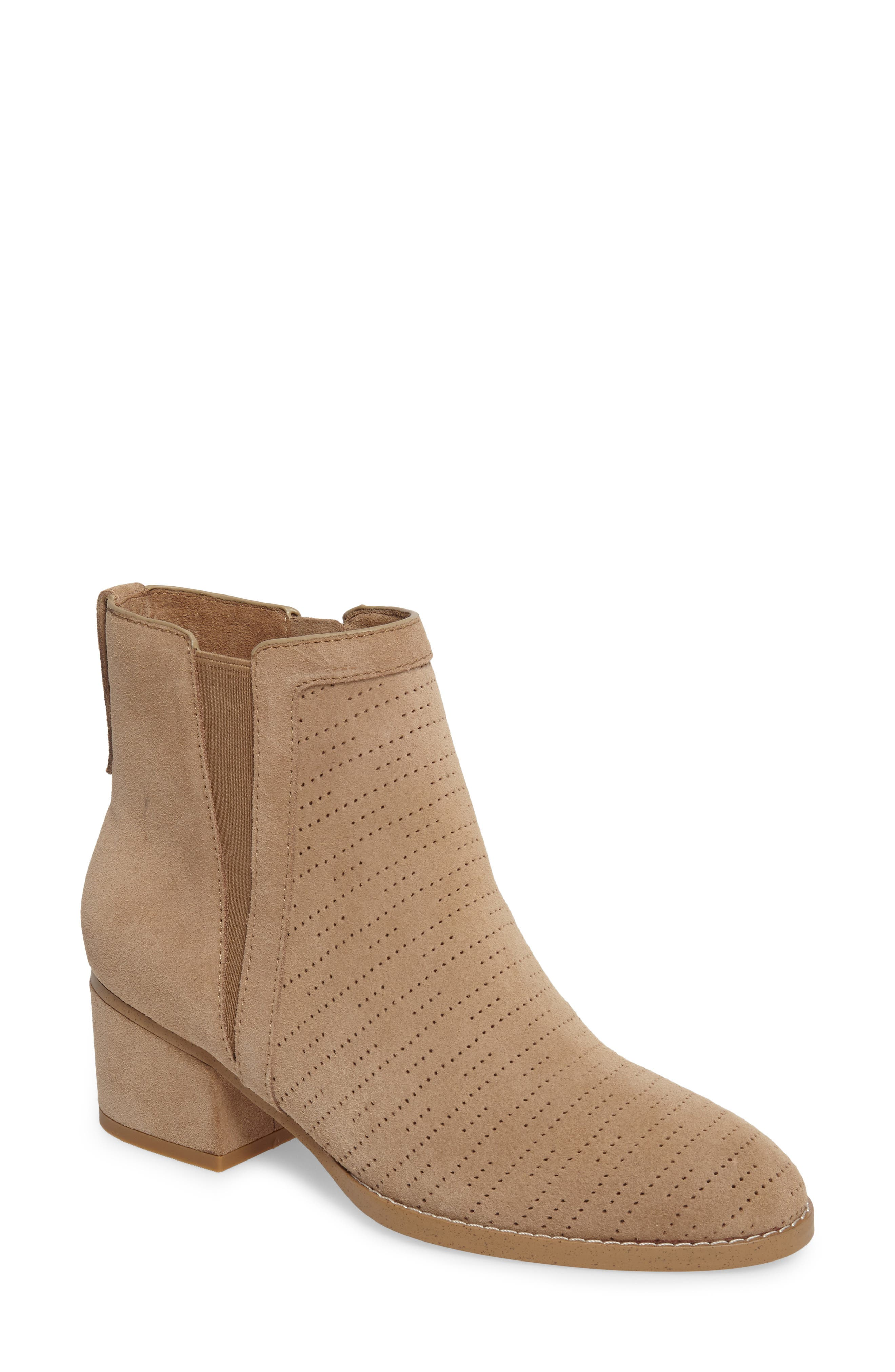 Rosalie Perforated Bootie,                             Main thumbnail 1, color,                             Light Taupe Suede