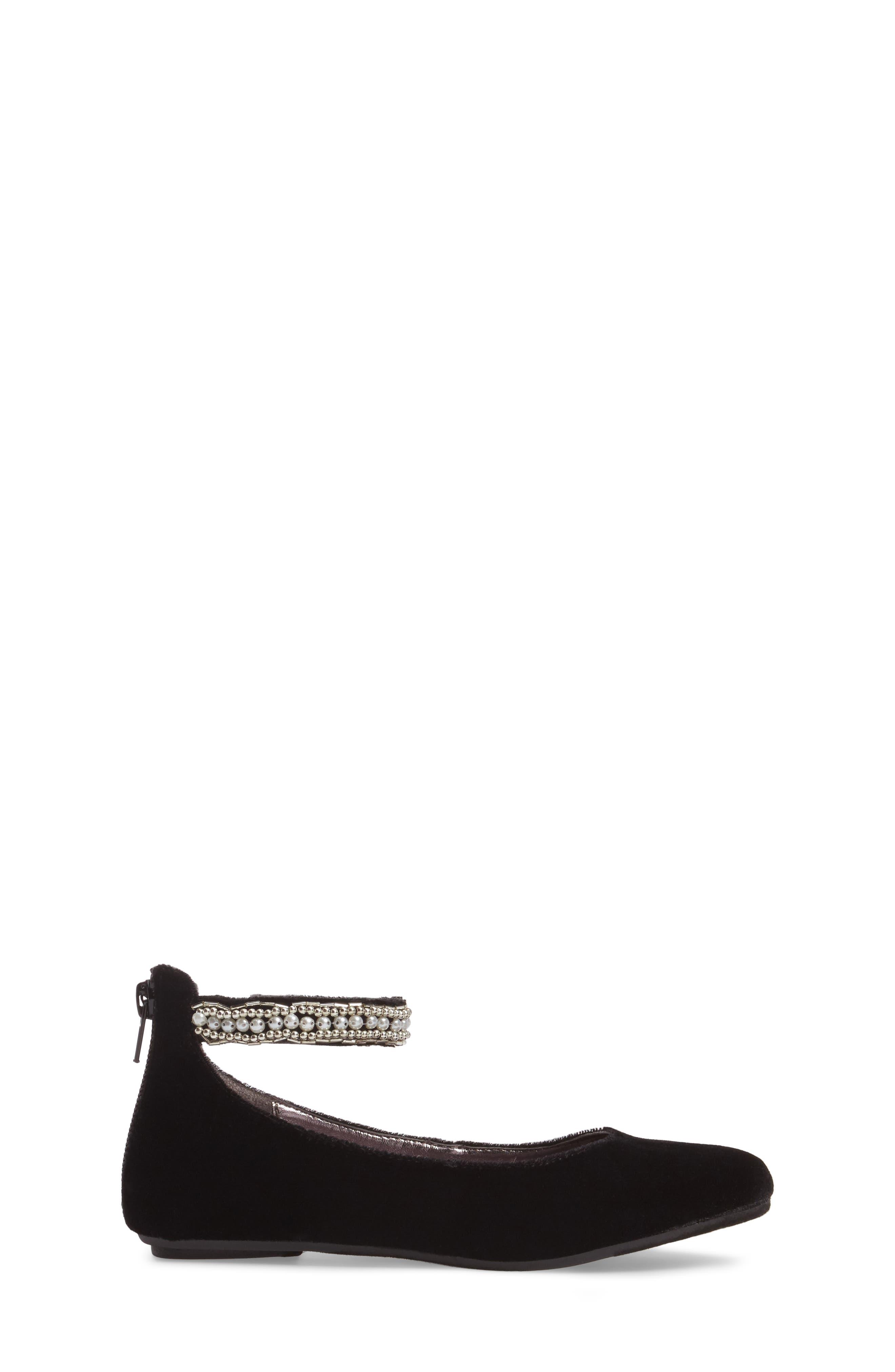 Zilerp Embellished Ankle Strap Flat,                             Alternate thumbnail 3, color,                             Black Velvet