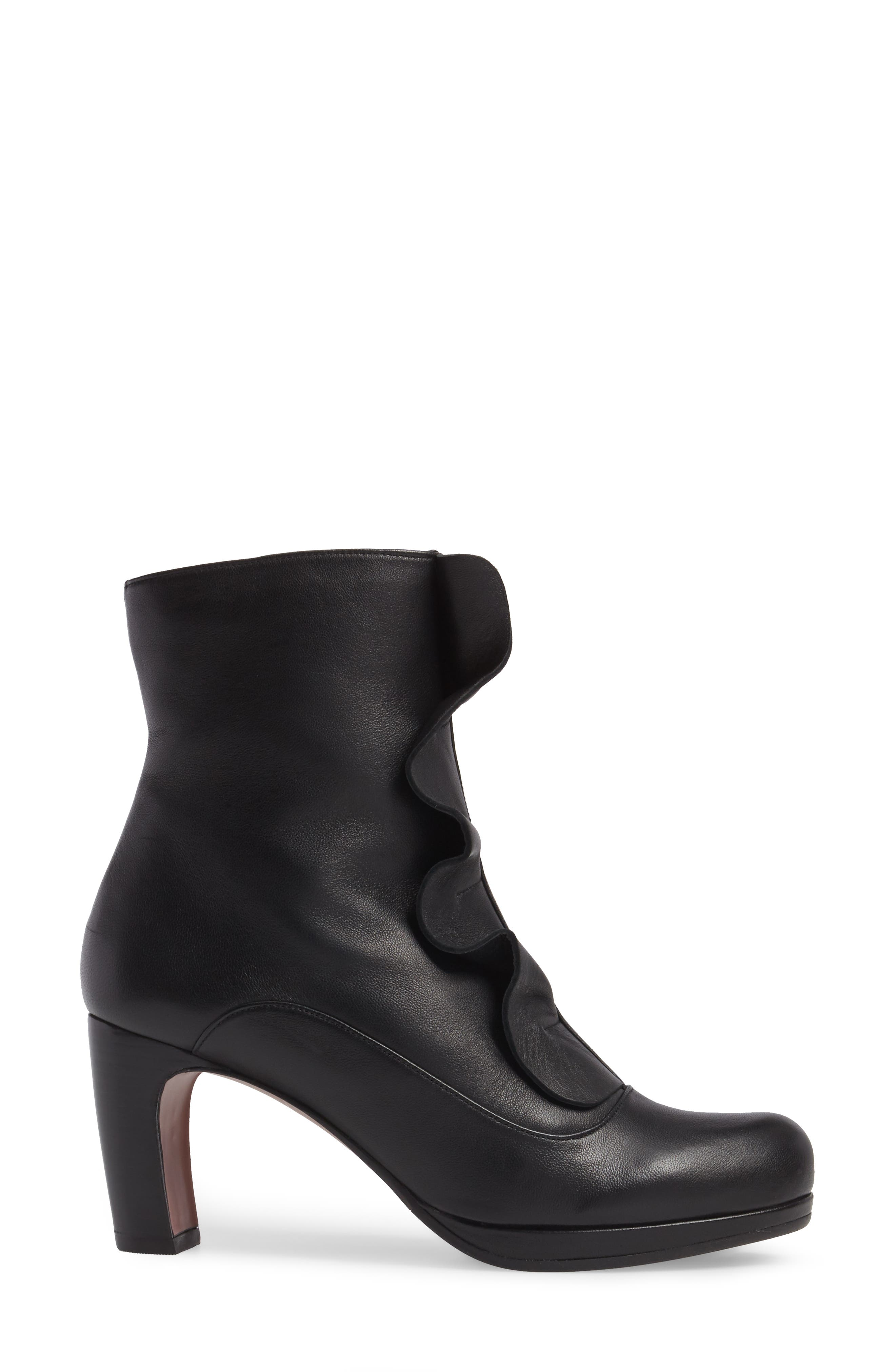 Picoli Ruffle Bootie,                             Alternate thumbnail 3, color,                             Negro