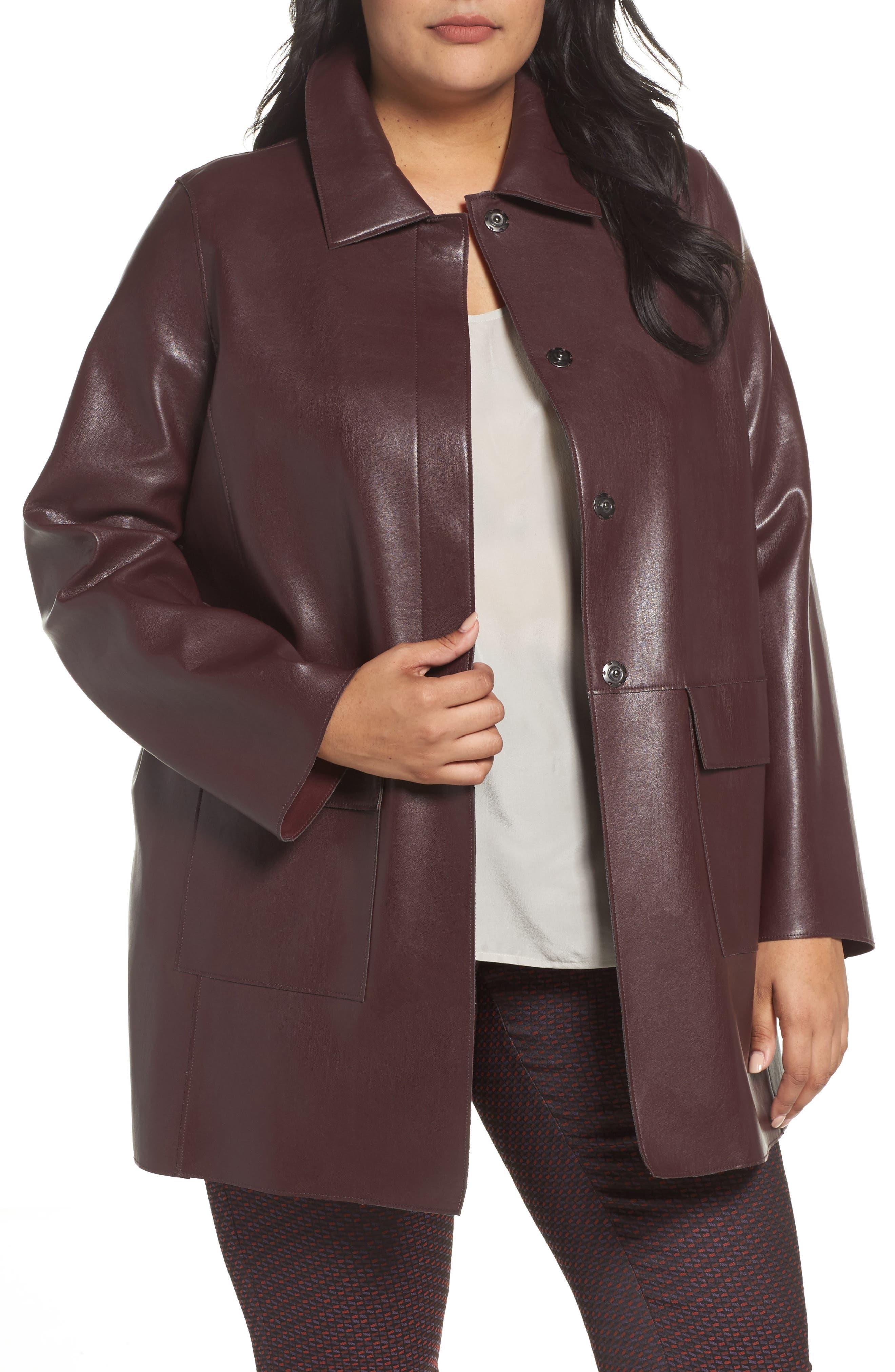 Main Image - Persona by Marina Rinaldi Narrare Faux Leather Coat (Plus Size)