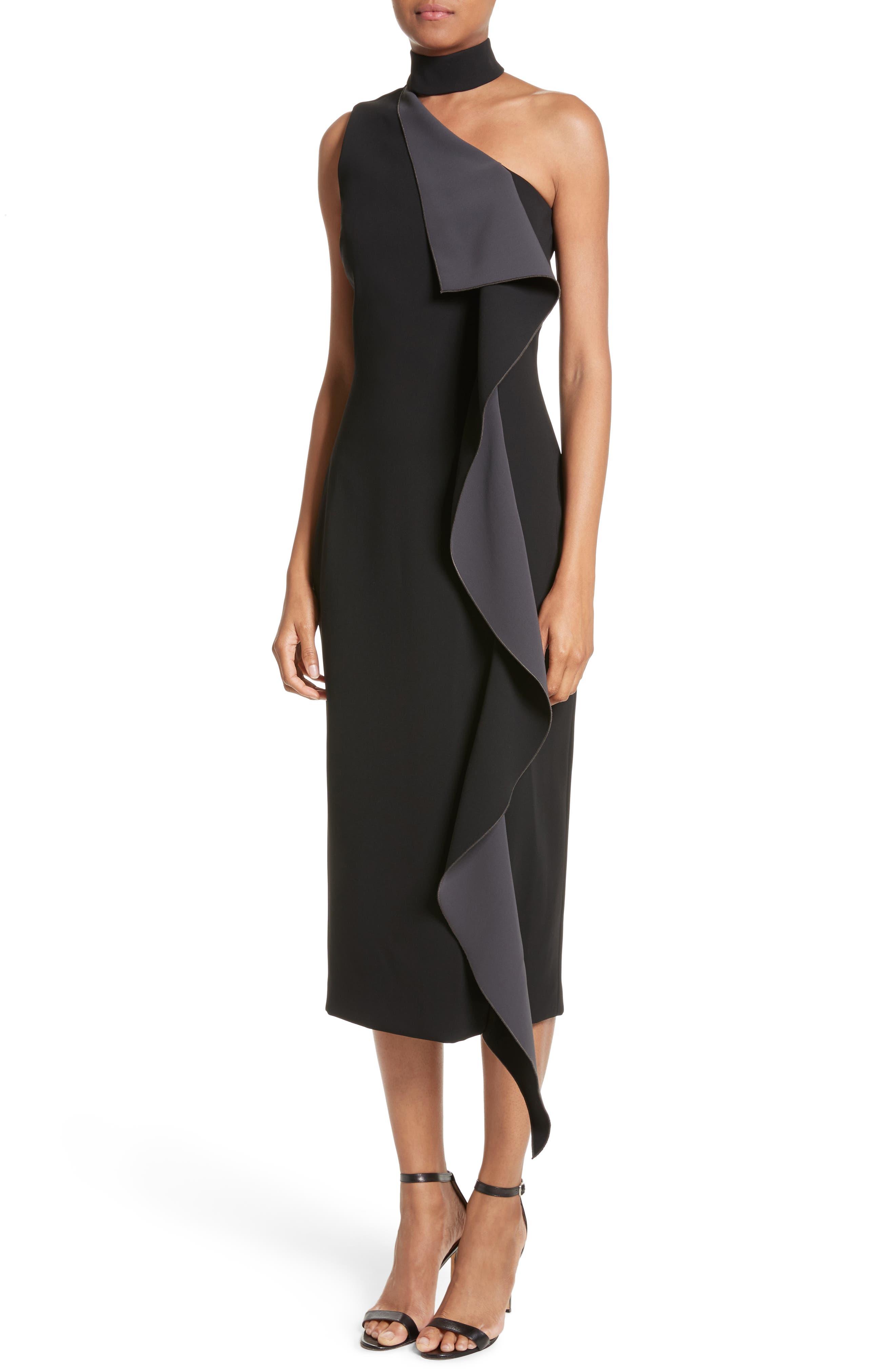 Elettra Ruffle Front Bonded Crepe Halter Dress,                             Alternate thumbnail 4, color,                             Black/ Graphite