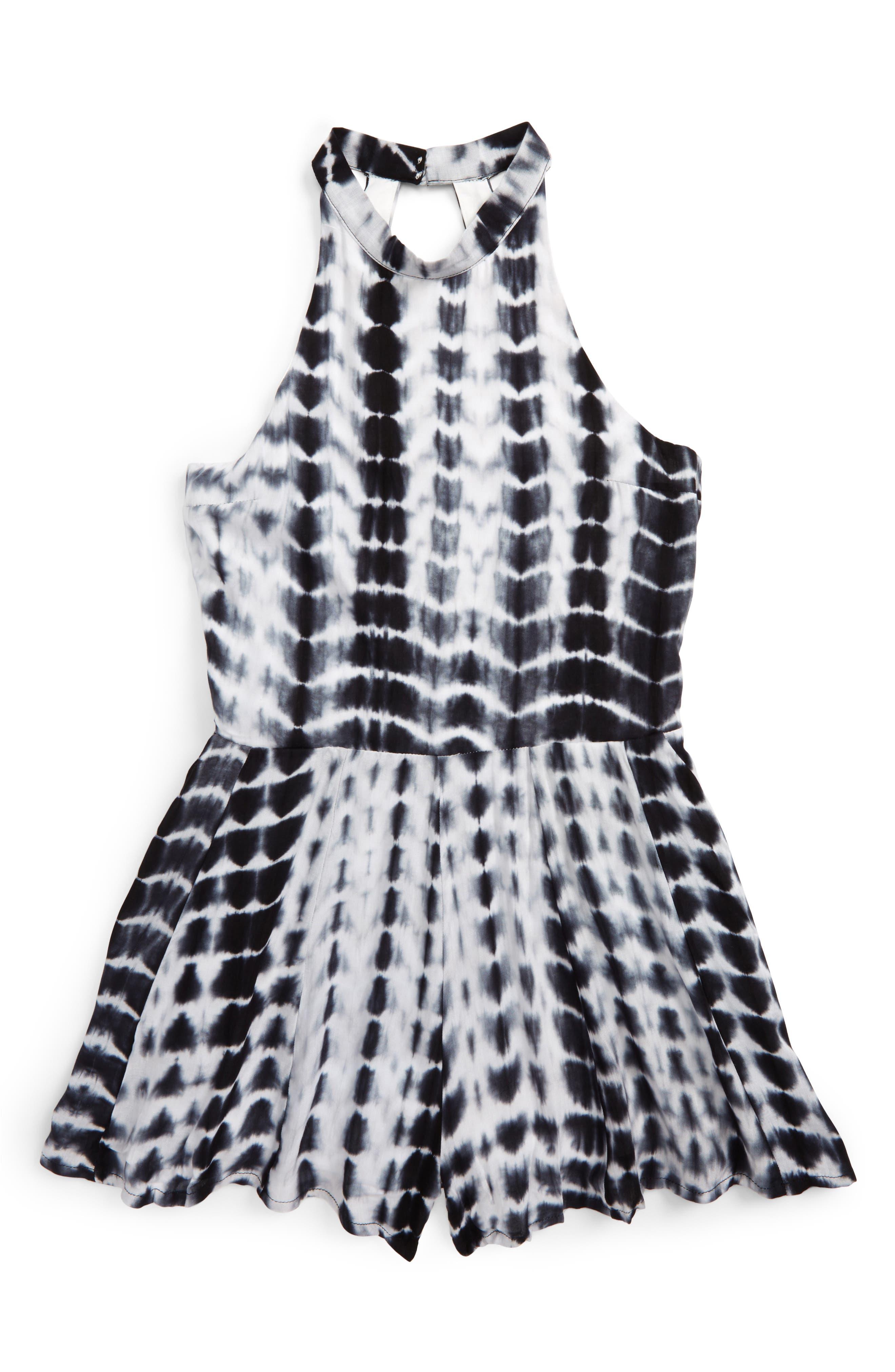 Alternate Image 1 Selected - Miss Behave Safira Tie Dye Print Romper (Big Girls)
