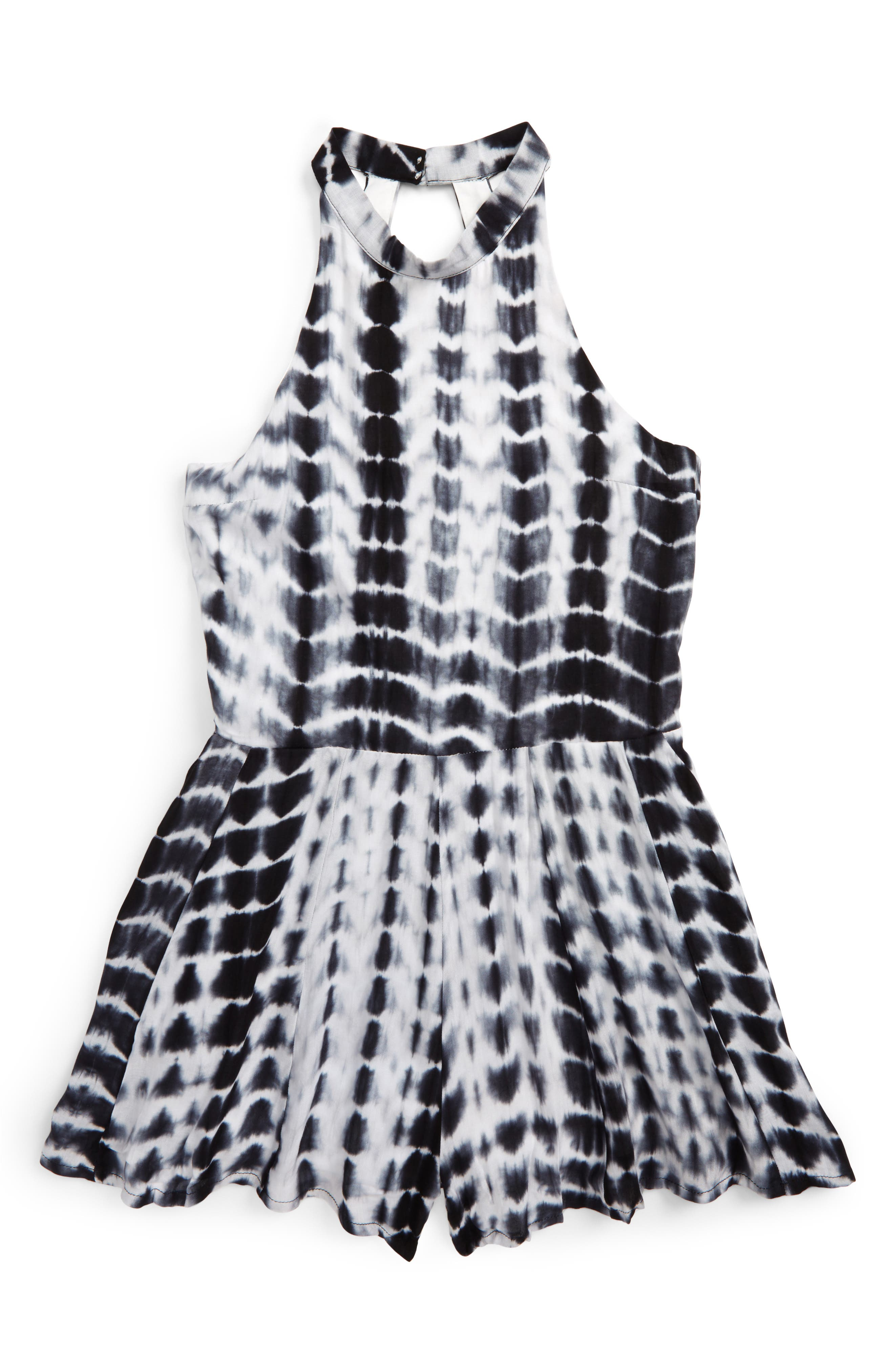 Main Image - Miss Behave Safira Tie Dye Print Romper (Big Girls)