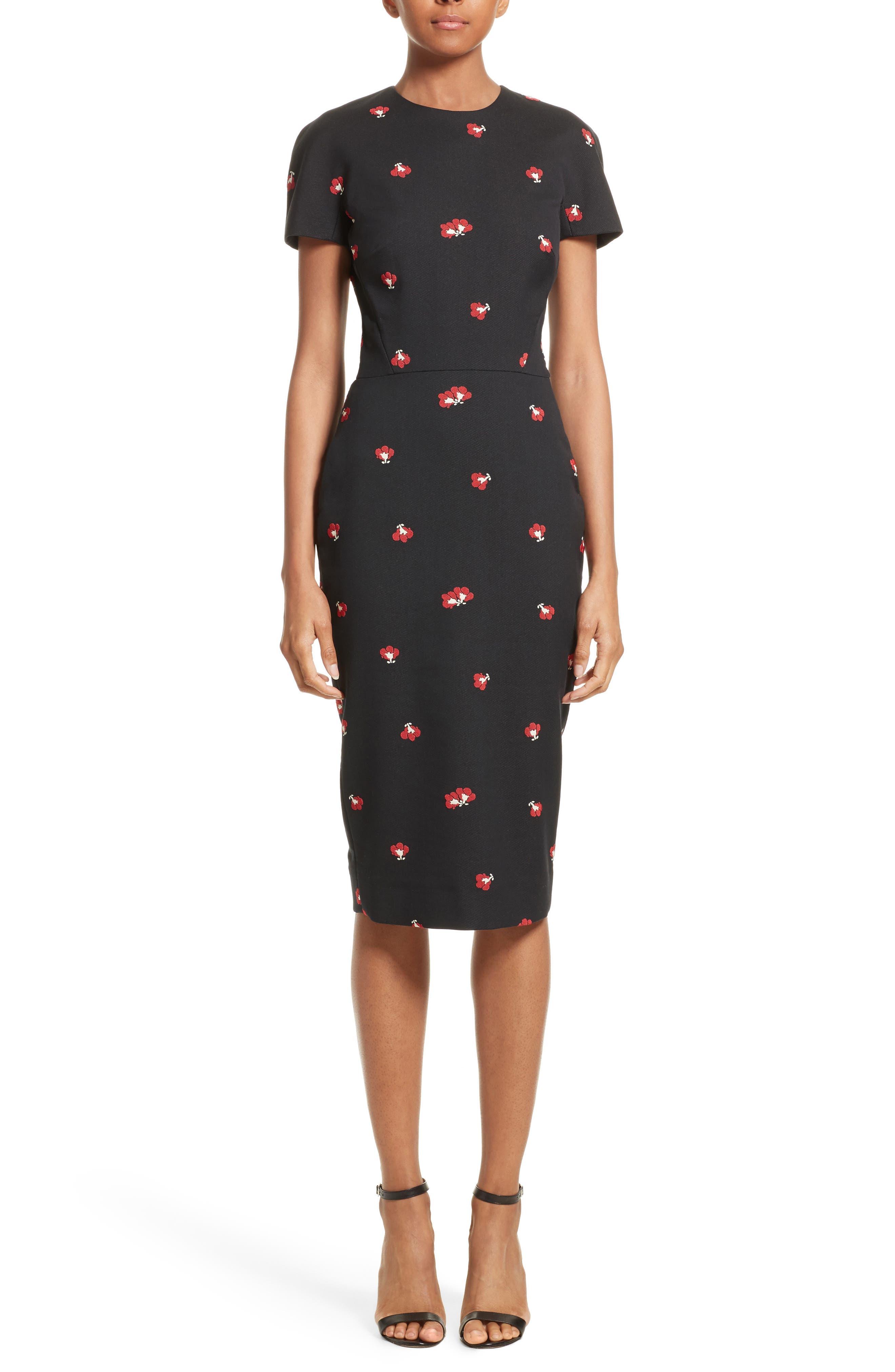 Flower Print Pencil Dress,                             Main thumbnail 1, color,                             Black/ Red