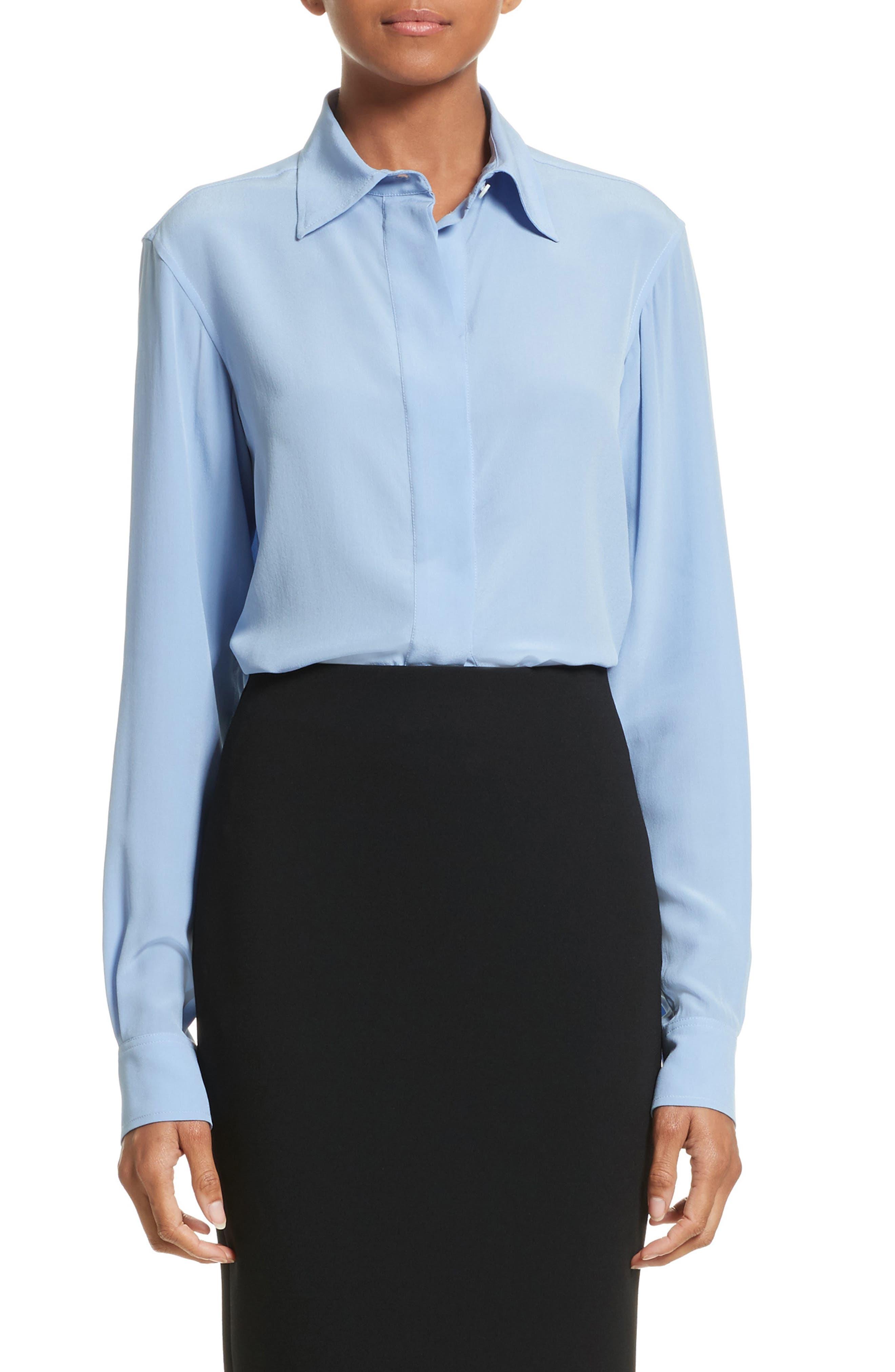 Silk Blouse,                         Main,                         color, Oxford Blue