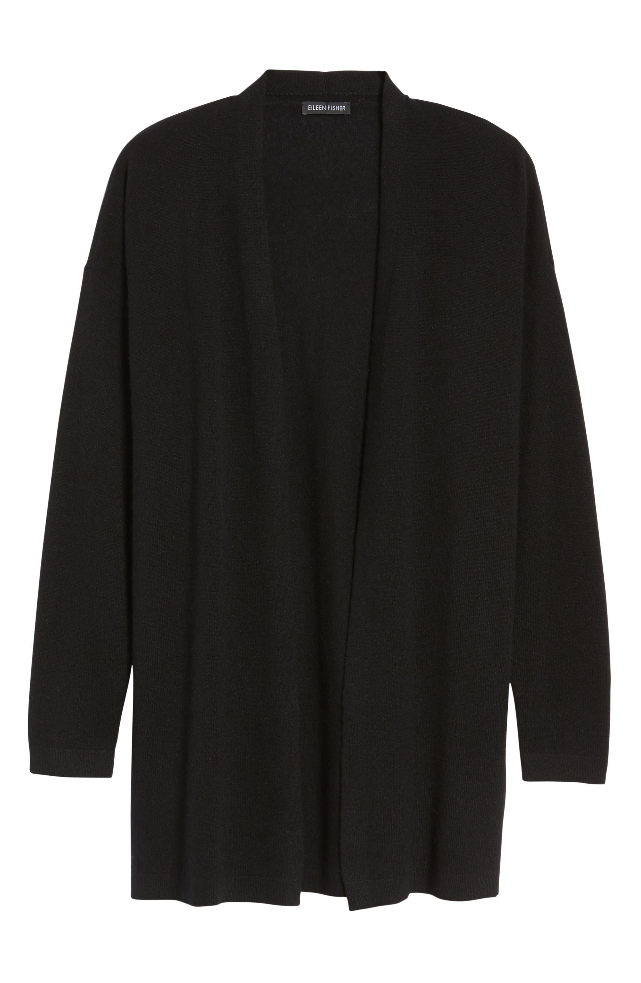 Long Cashmere Cardigan,                             Alternate thumbnail 6, color,                             Black