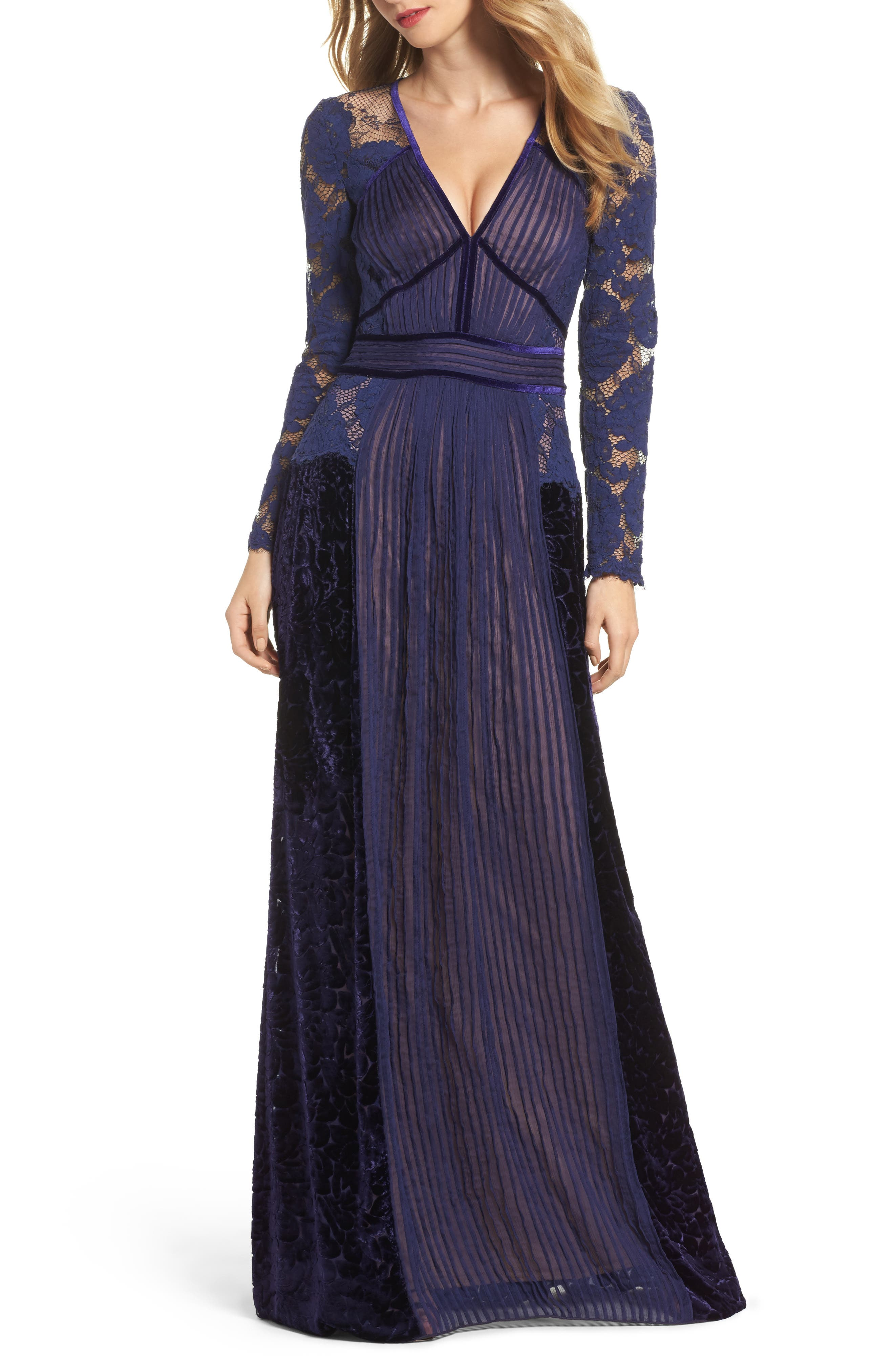Alternate Image 1 Selected - Tadashi Shoji Mixed Media A-Line Gown