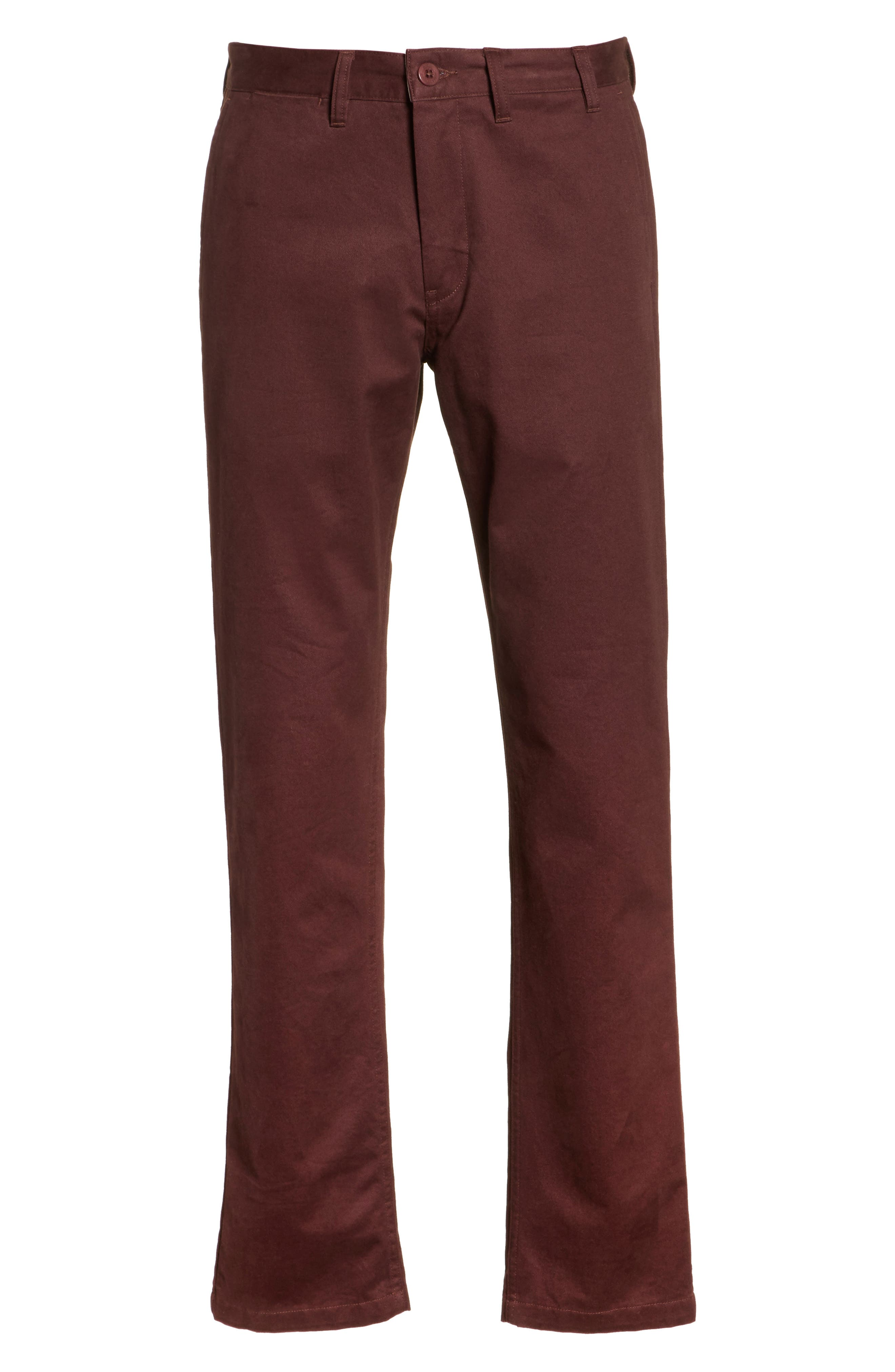 Aros Brushed Twill Chinos,                             Alternate thumbnail 6, color,                             Hematite Red