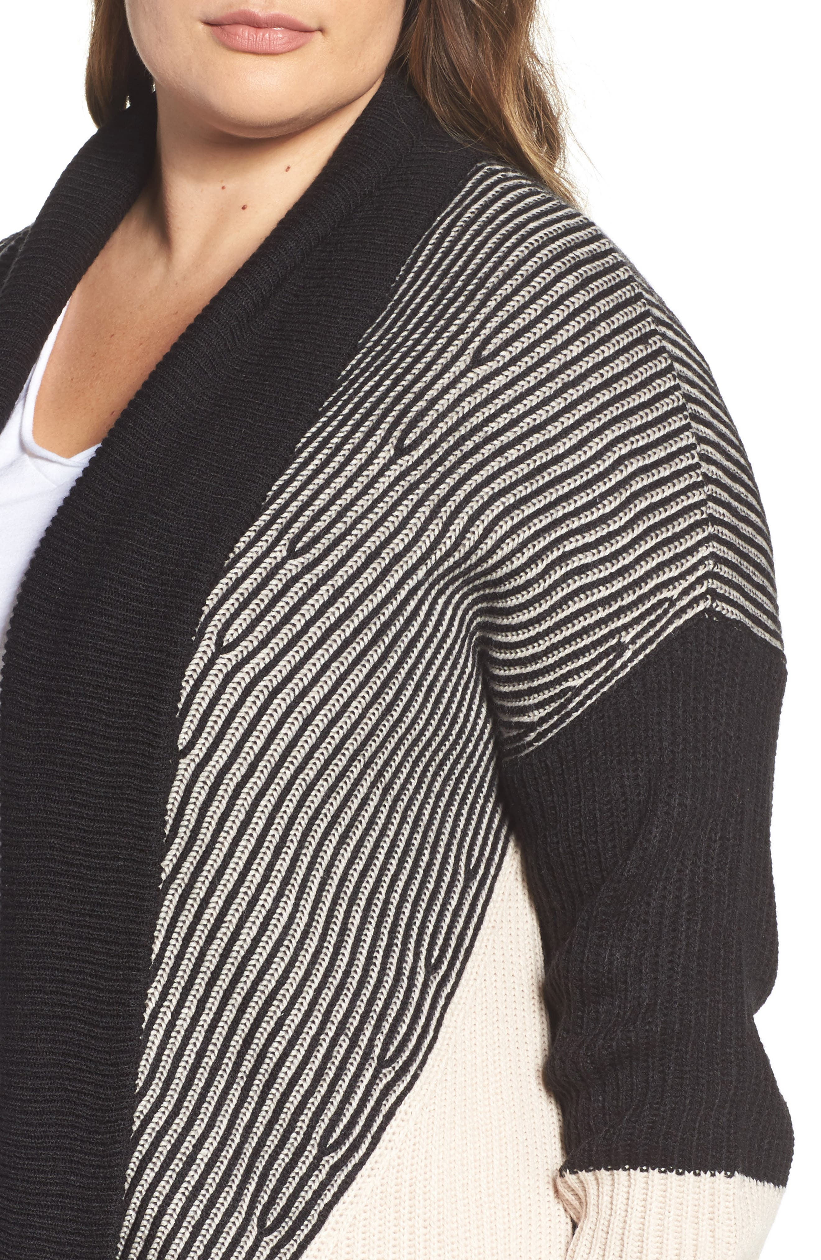 Colorblock Ribbed Cardigan,                             Alternate thumbnail 4, color,                             Beige- Black Pattern