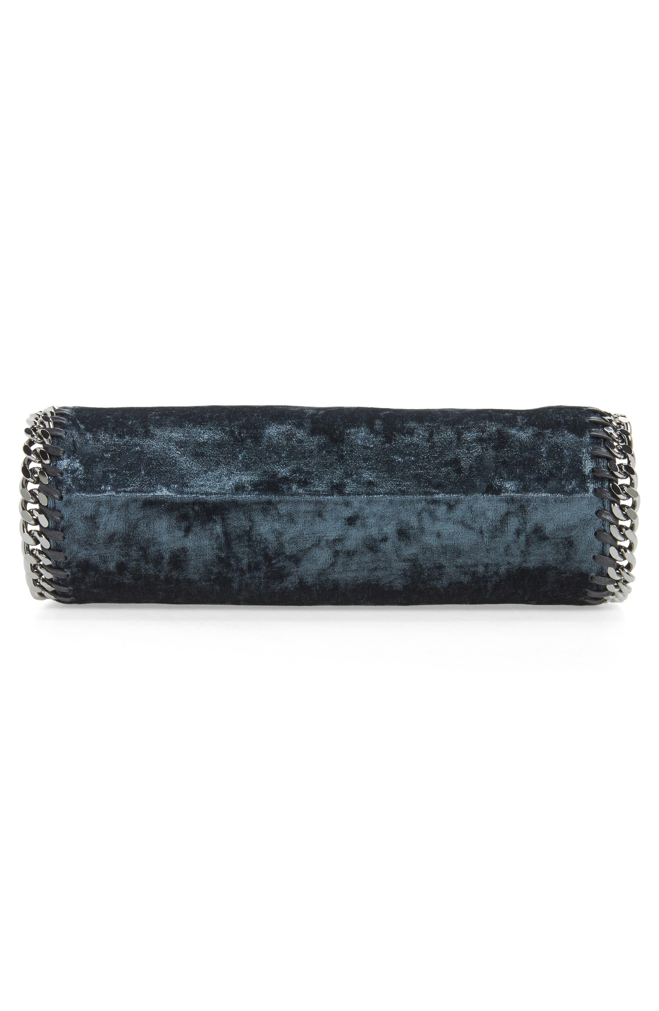 Mini Falabella Crushed Velvet Bag,                             Alternate thumbnail 4, color,                             Charcoal